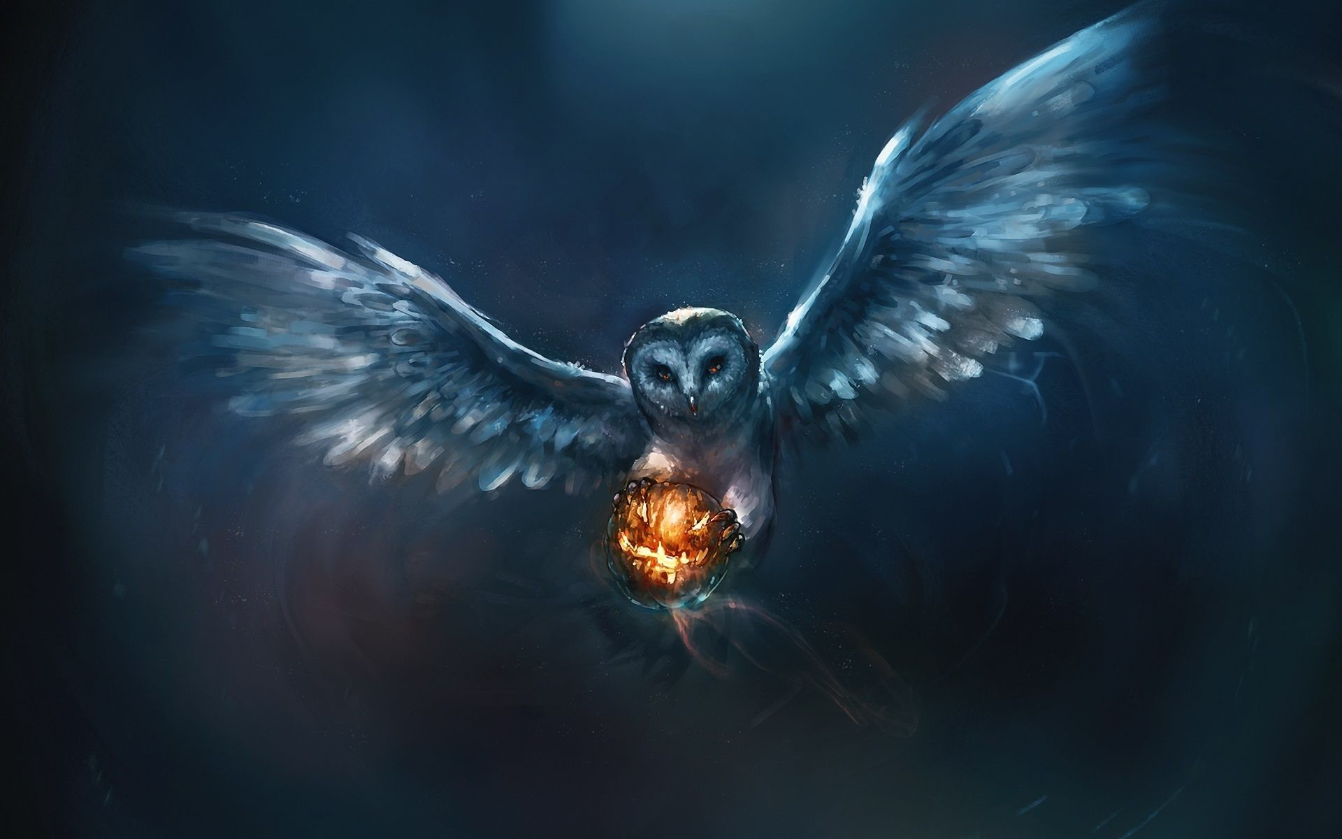 1920x1200 Owl painting and fire-ball - Wallpaper | GFXHive