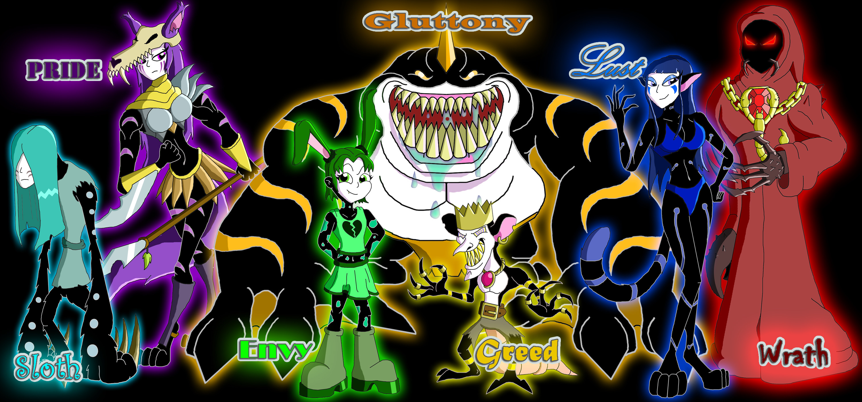 3000x1400 ... The 7 Deadly Sins by Moheart7
