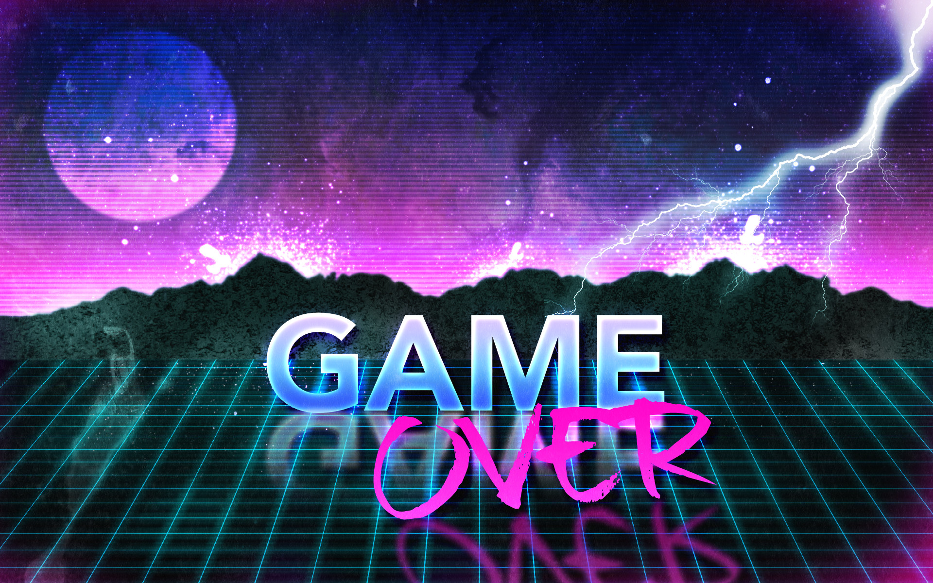 1920x1200 ... 80s Retro Game Over Wallpaper by Leepiin