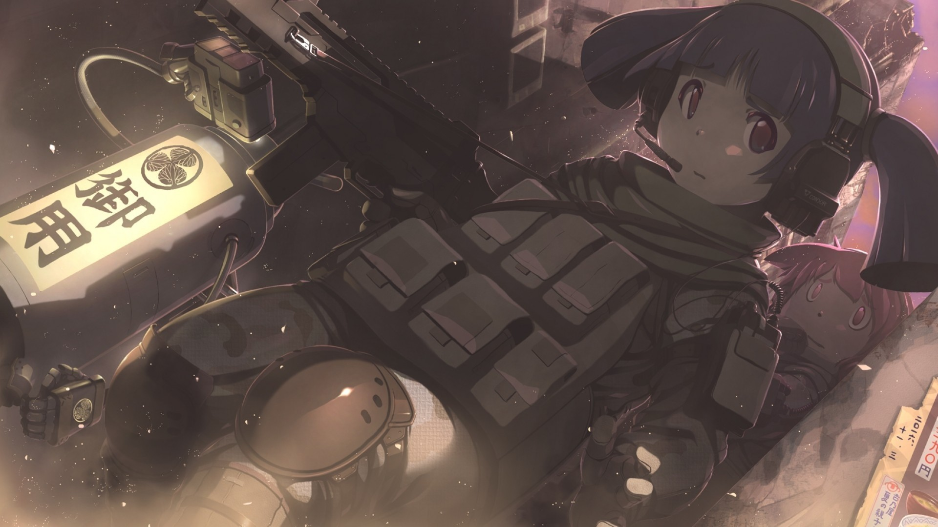 1920x1080 Anime Military Wallpaper Hd - Anime Girl Military Sol r Moe Guns Scared  Expression Headphones