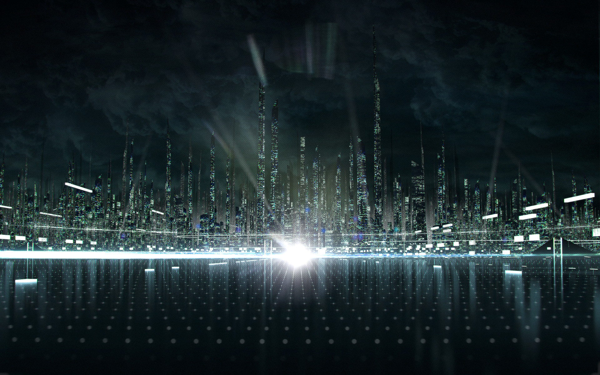 1920x1200 Tron City from Disney's Tron: Legacy Movie Desktop Wallpaper