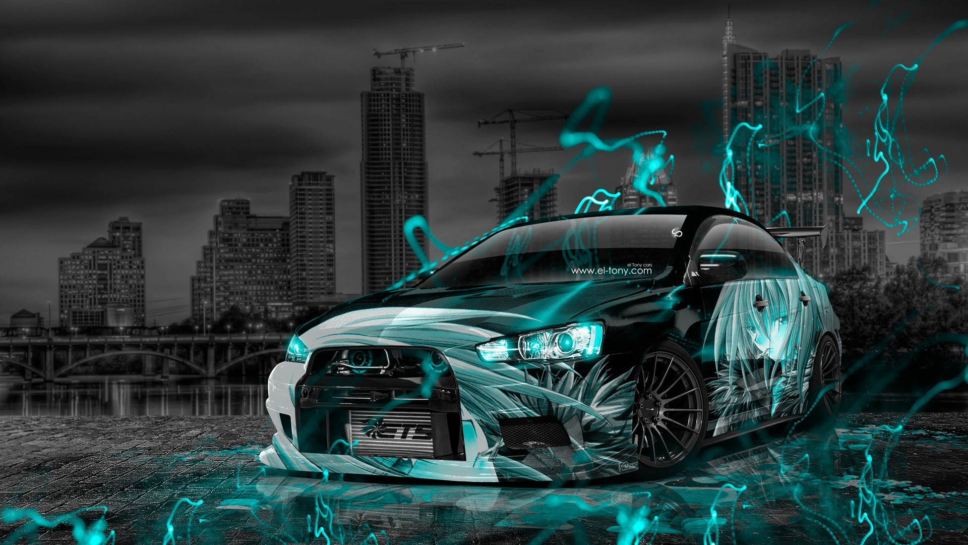 1920x1080 ... Mitsubishi Lancer Evolution X Tuning JDM Anime City Car 2015