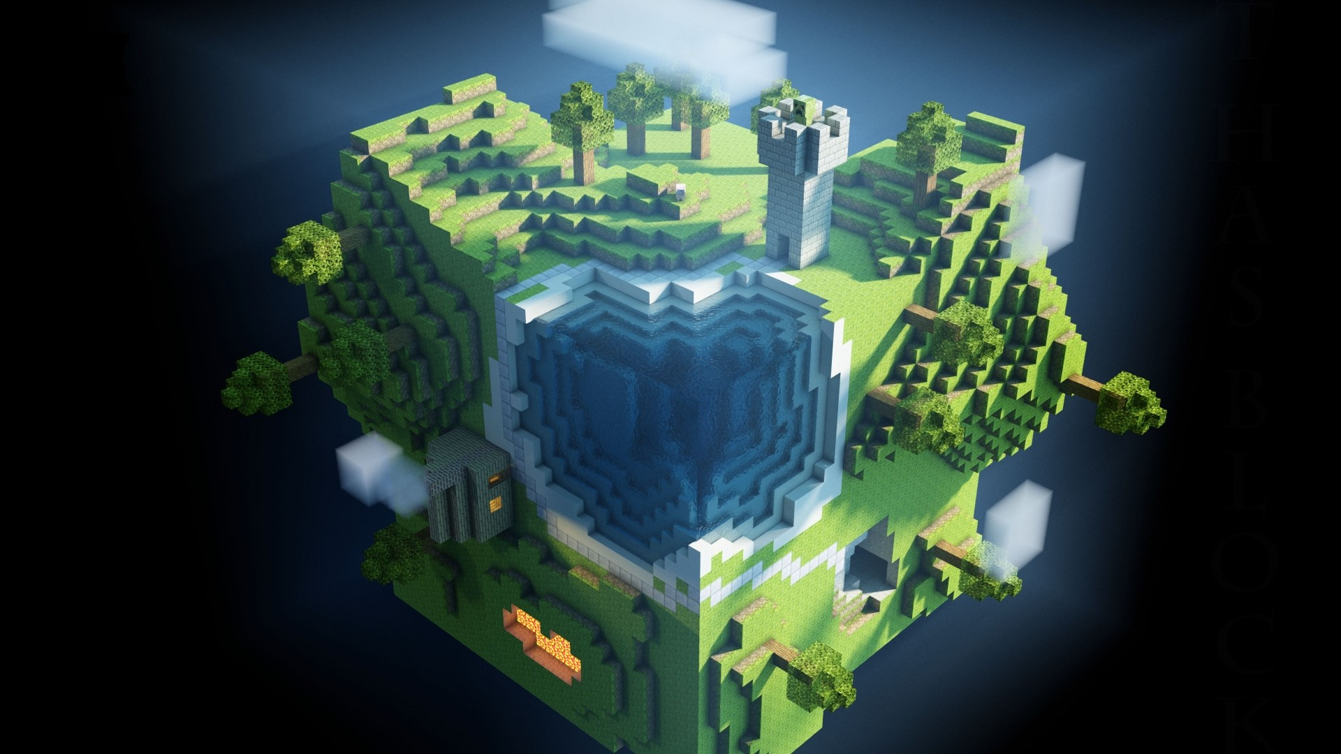 1920x1080 Preview wallpaper minecraft, planet, cube, cubes, world