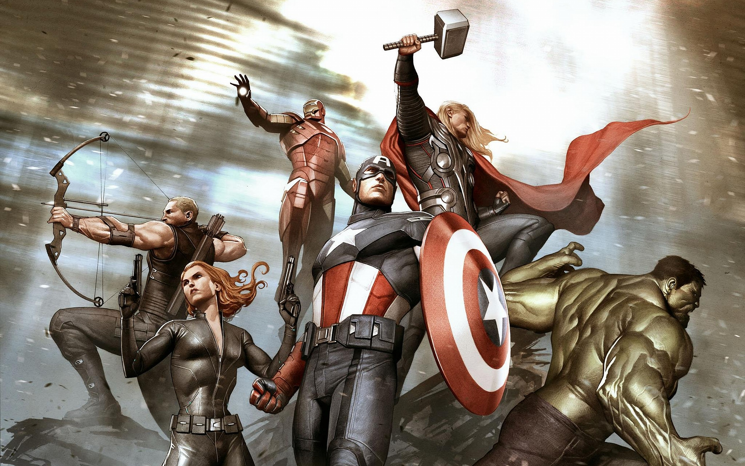 2560x1600 Comics - Avengers Hawkeye Black Widow Captain America Iron Man Hulk Thor  Wallpaper