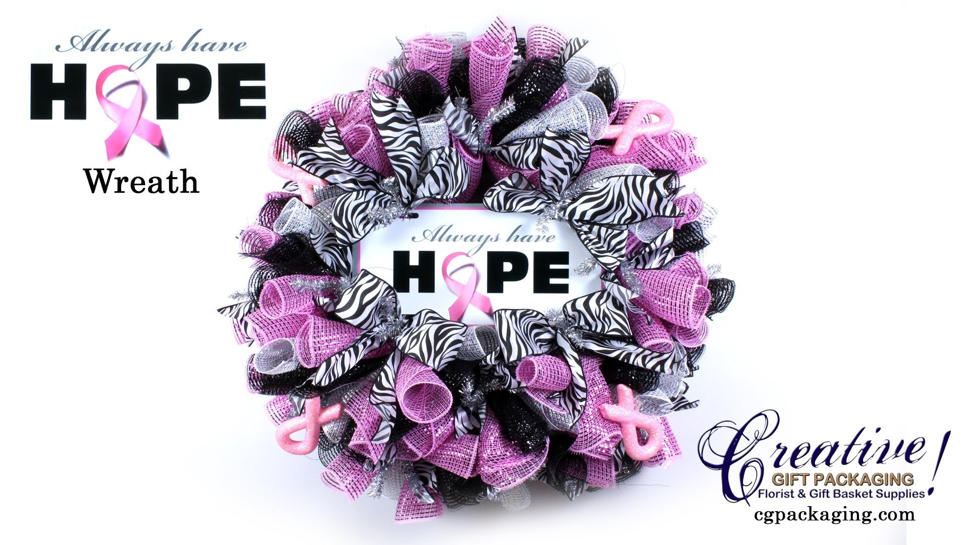 "1920x1080 How To Make a ""Breast Cancer Awareness"" Deco Mesh Wreath - Pink Ribbon  Wreath - YouTube"