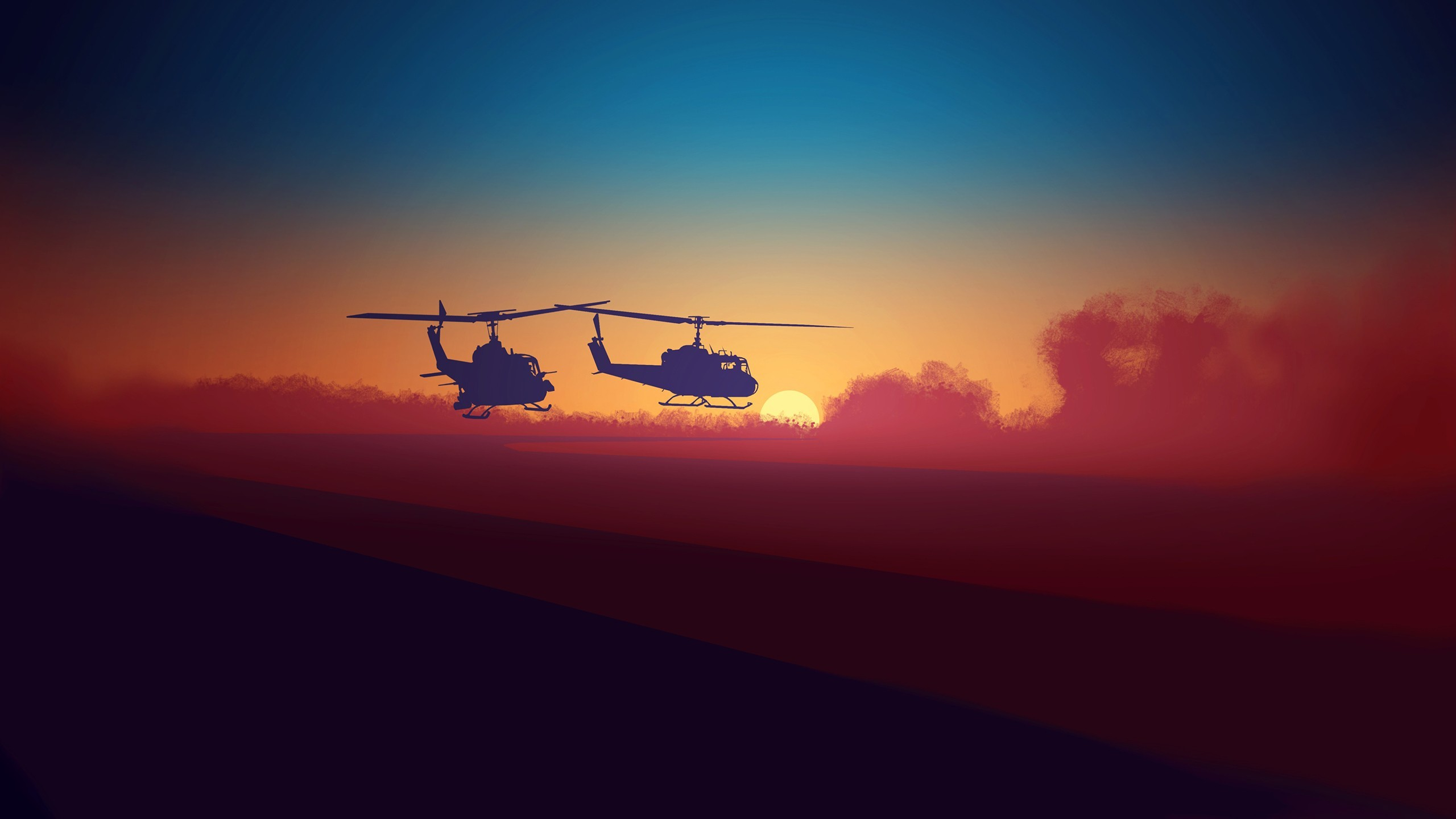 2560x1440 Bell-UH-1 Choppers Minimal Wallpaper