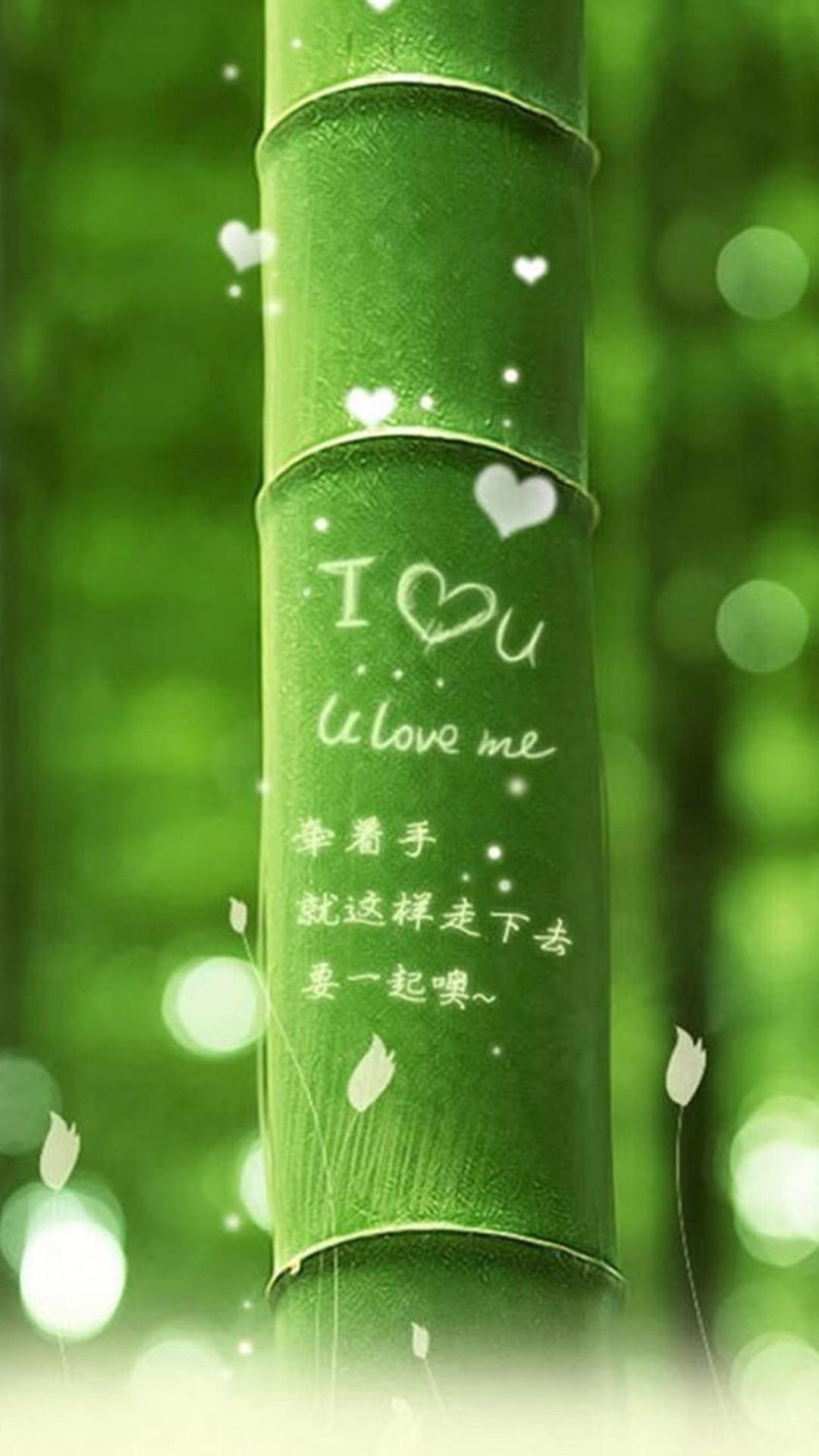 1080x1920 I Love You Green Bamboo iPhone 6 Plus HD Wallpaper ...