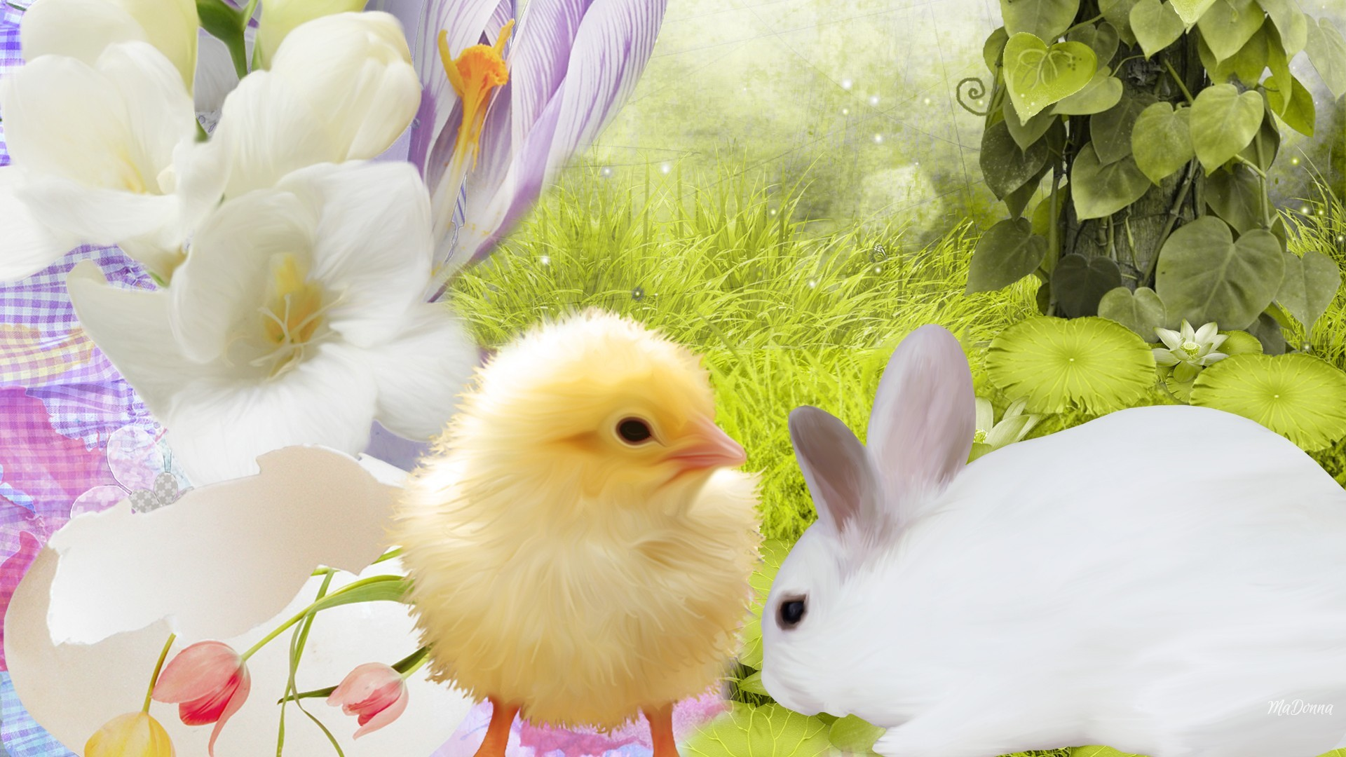 1920x1080 bunny_chick_easter_rabbit_chicken_grass_hd-wallpapers