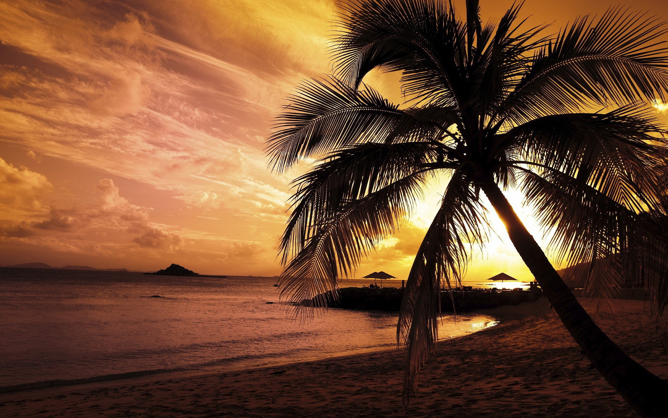 2560x1600 Sunset Beach Wallpaper 1080p HD