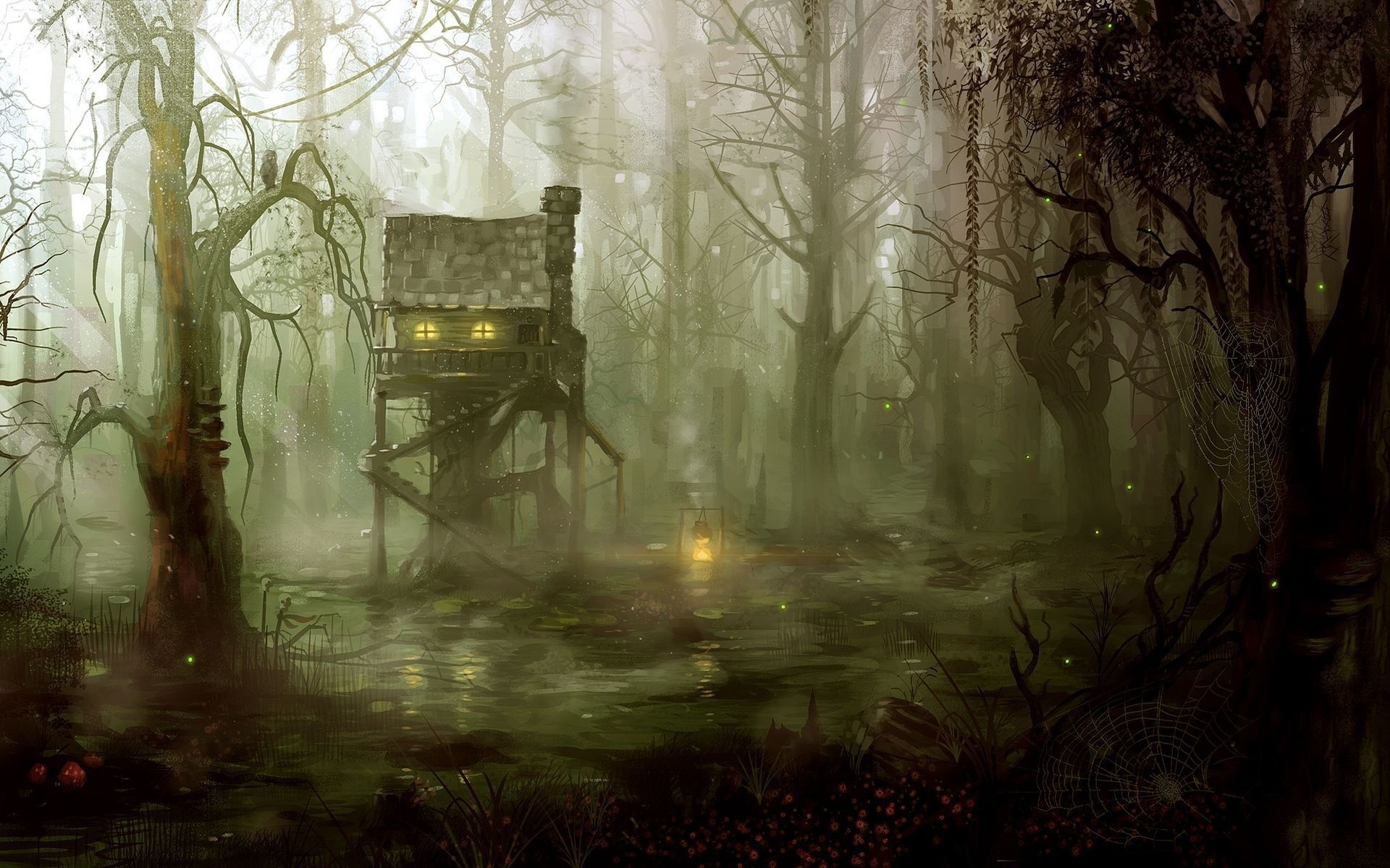 1920x1200 Fantasy art artistic drawing painting dark spooky architecture buildings  houses swamp jungle forest trees fire flames