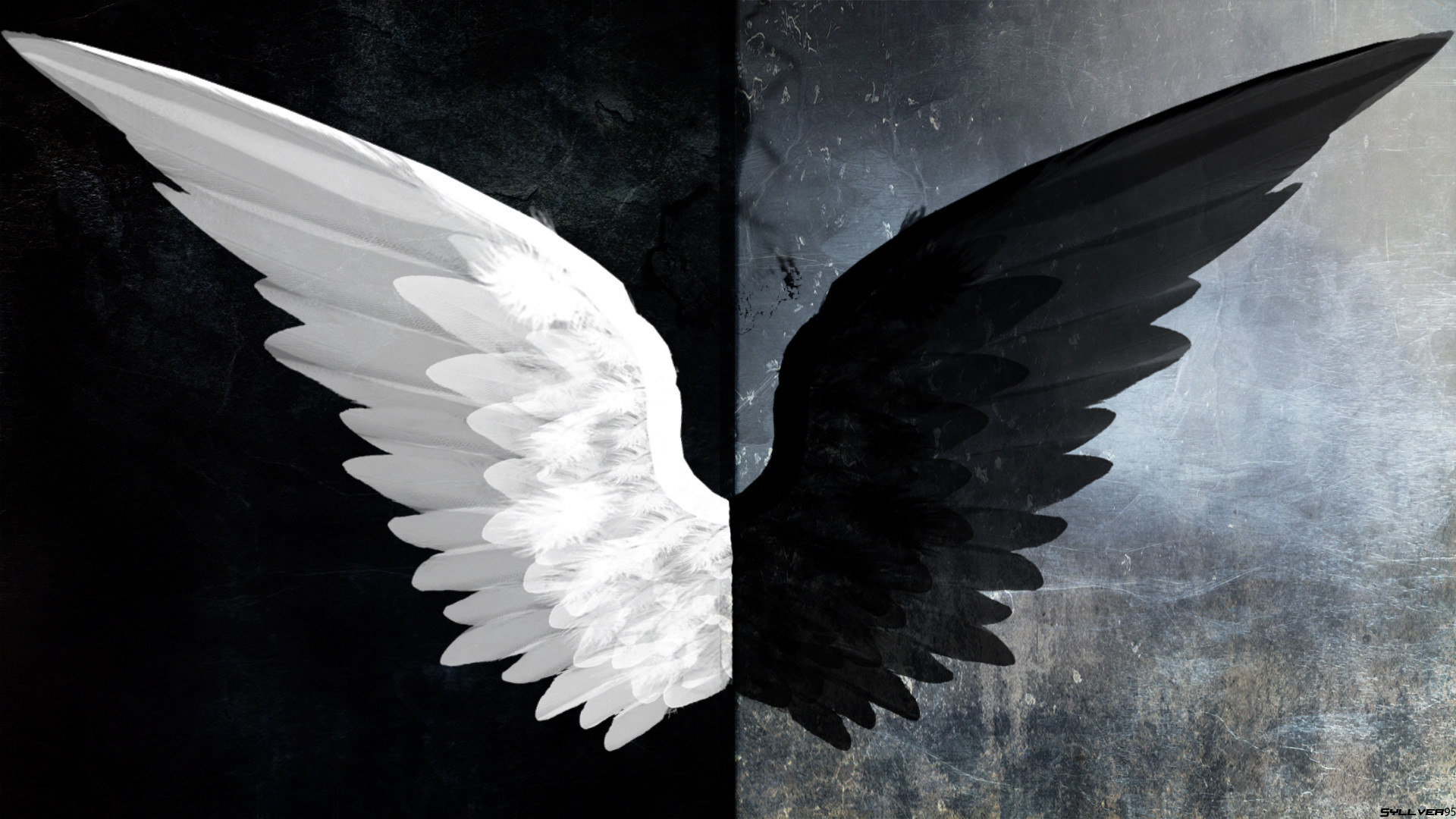 1920x1080 Black Angel Wings Wallpaper