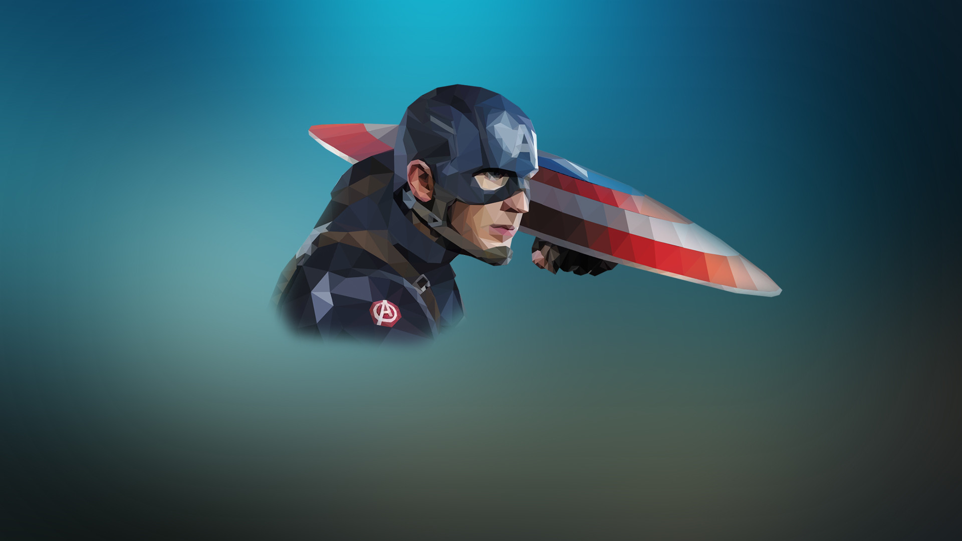1920x1080  low poly portrait Captain America, simple superhero wallpaper