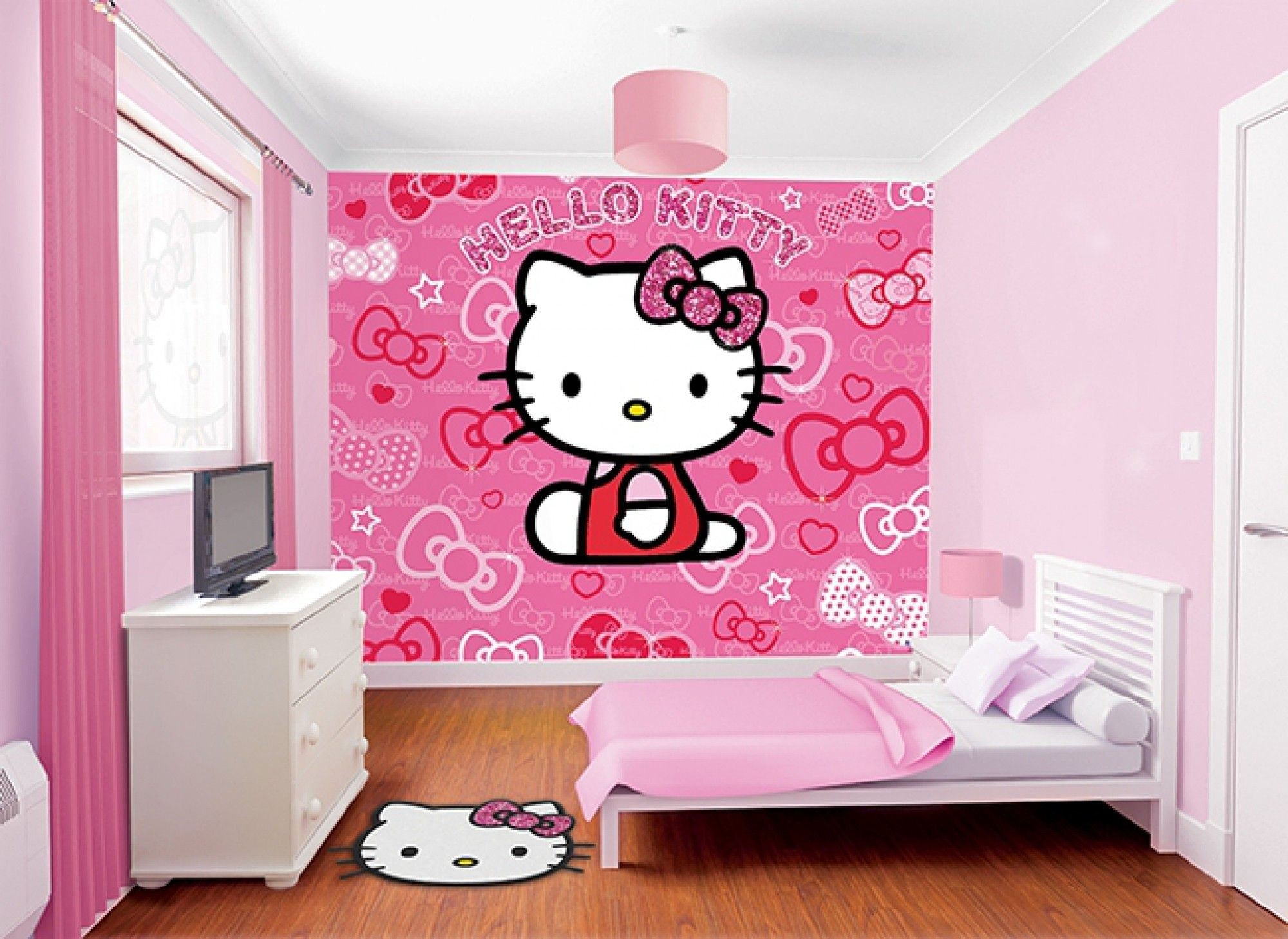 2000x1458 Simple Kids Girl Ikea Bedroom Furniture Ideas For Small Spaces Amusing Hello  Kitty Wallpaper Girls In ...