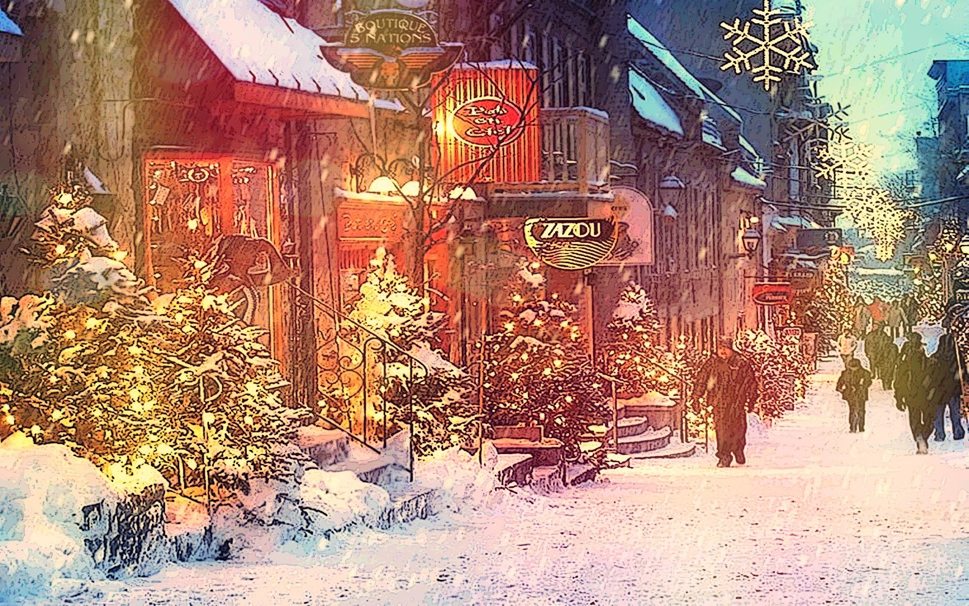 Snow in the City Wallpaper