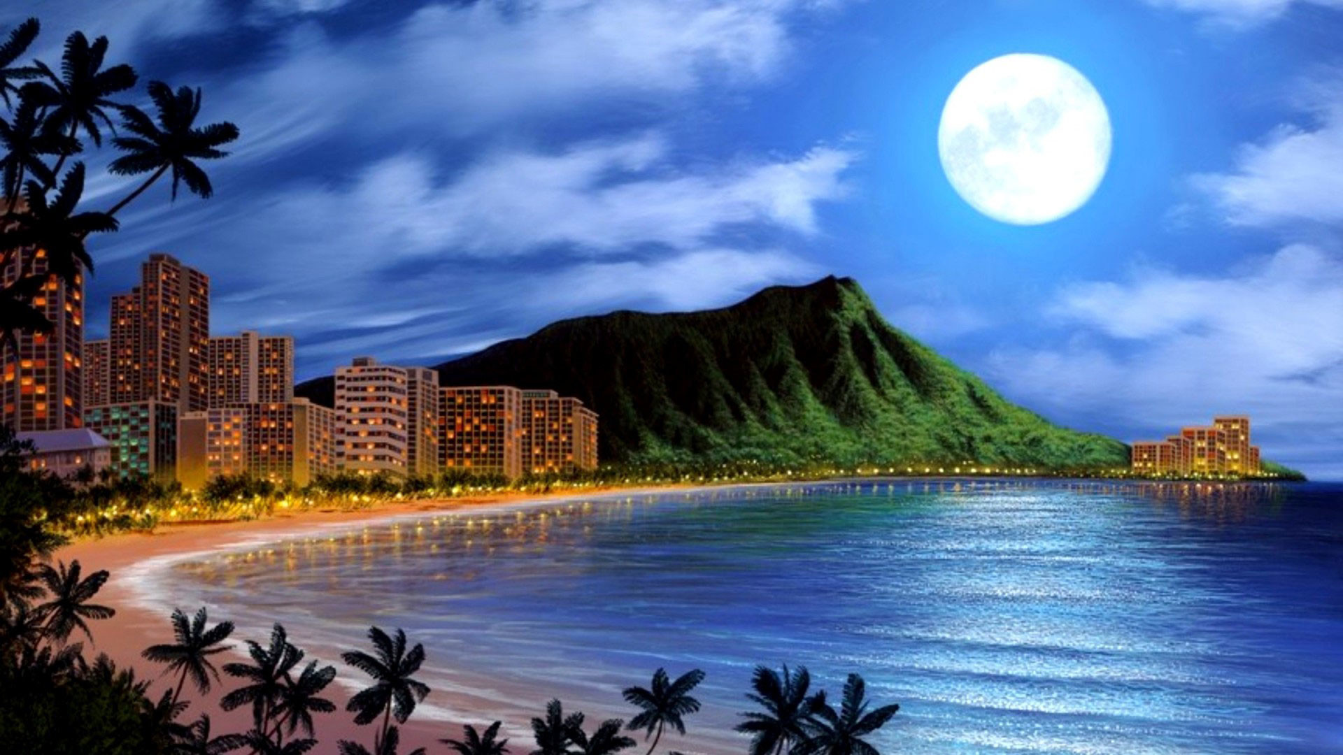 1920x1080 hd pics photos awesome beach buildings night sea moon nice hd quality desktop  background wallpaper