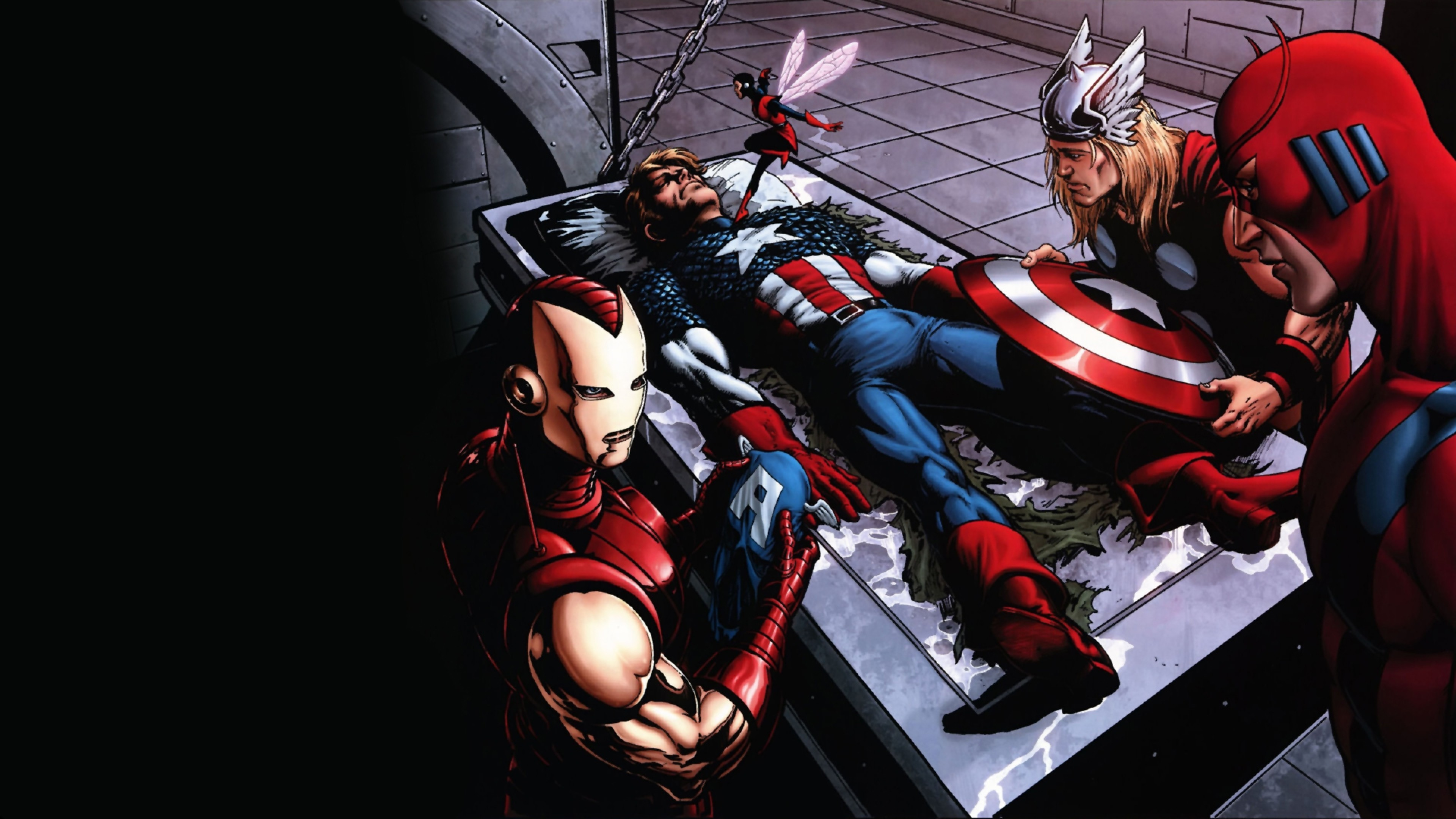 3840x2160 Preview wallpaper comics, marvel, thor, captain america, iron man