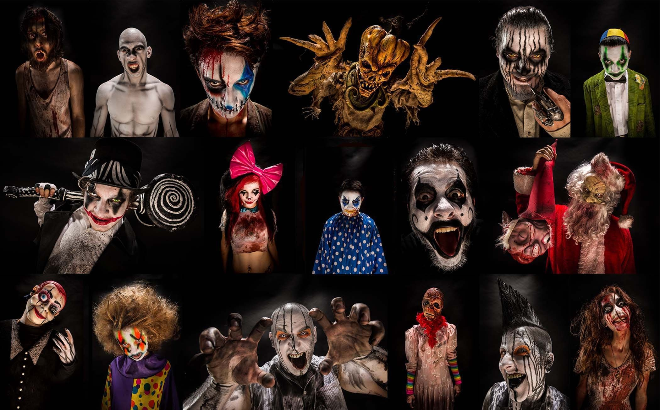 2100x1307 Holiday - Halloween Holiday Collage Scary Evil Creepy Clown Wallpaper