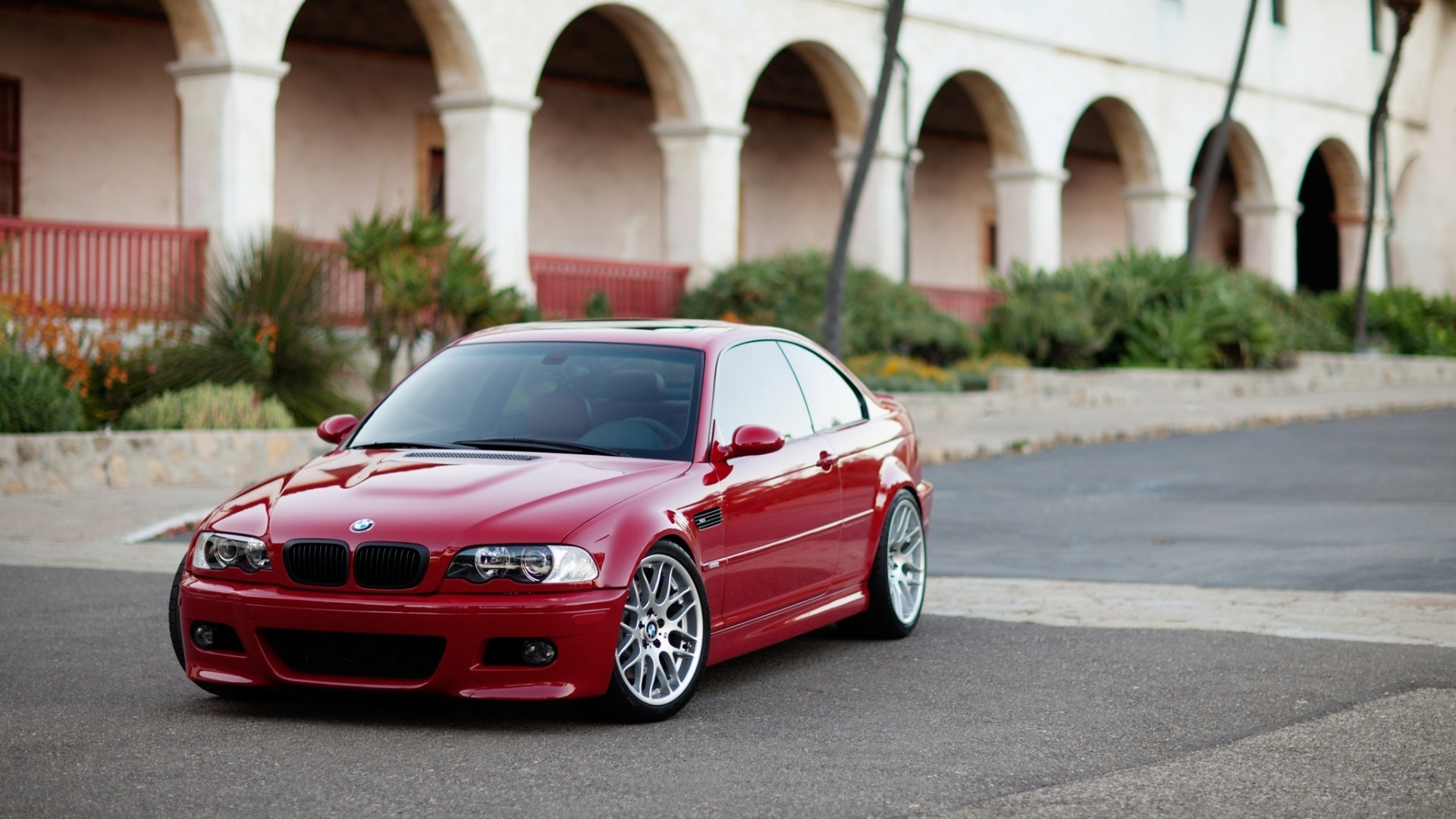 1920x1080 Preview wallpaper building, coupe, red, e46, bmw, m3