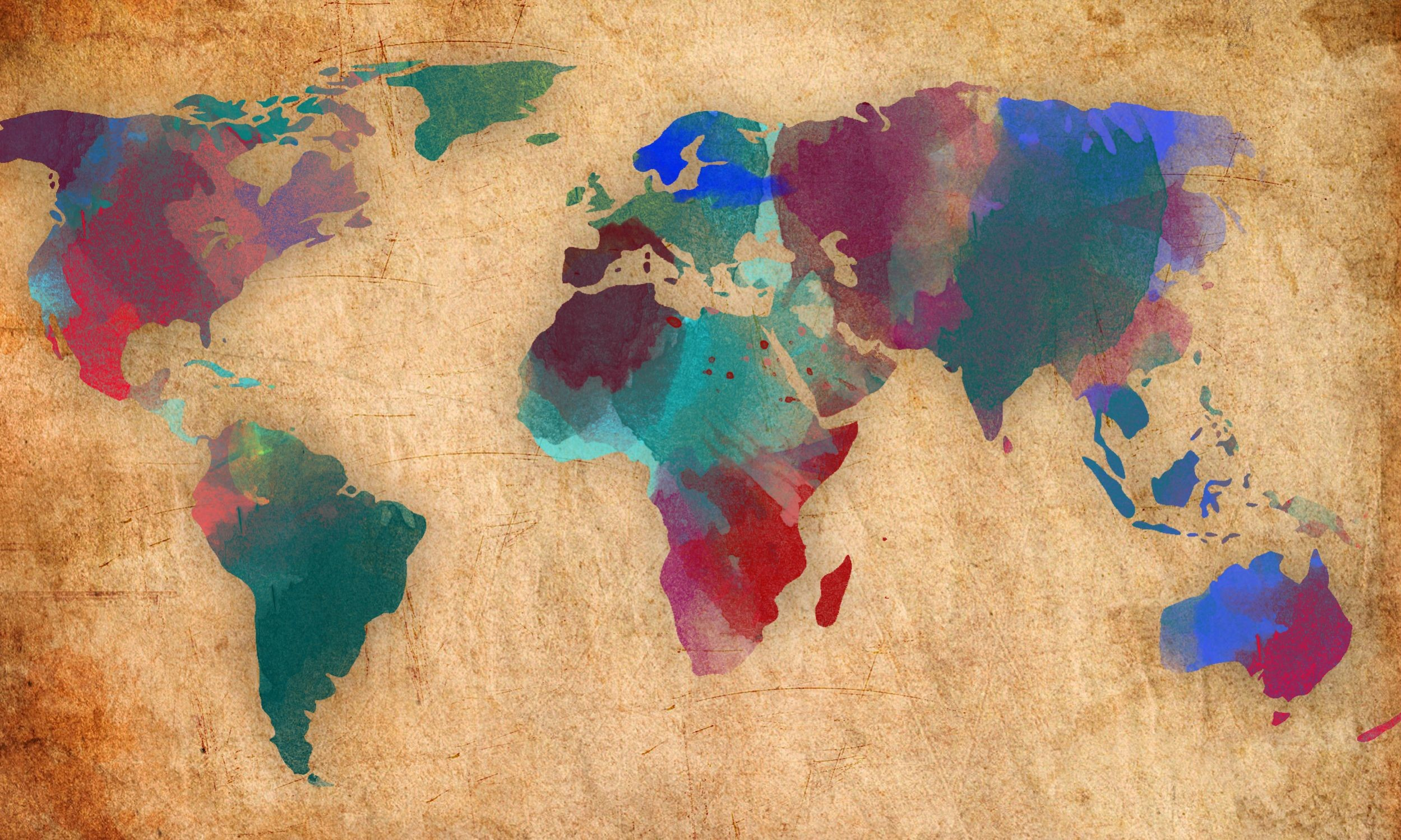 2499x1499 Watercolor World Map Wallpaper Download 2560x1600 Wide