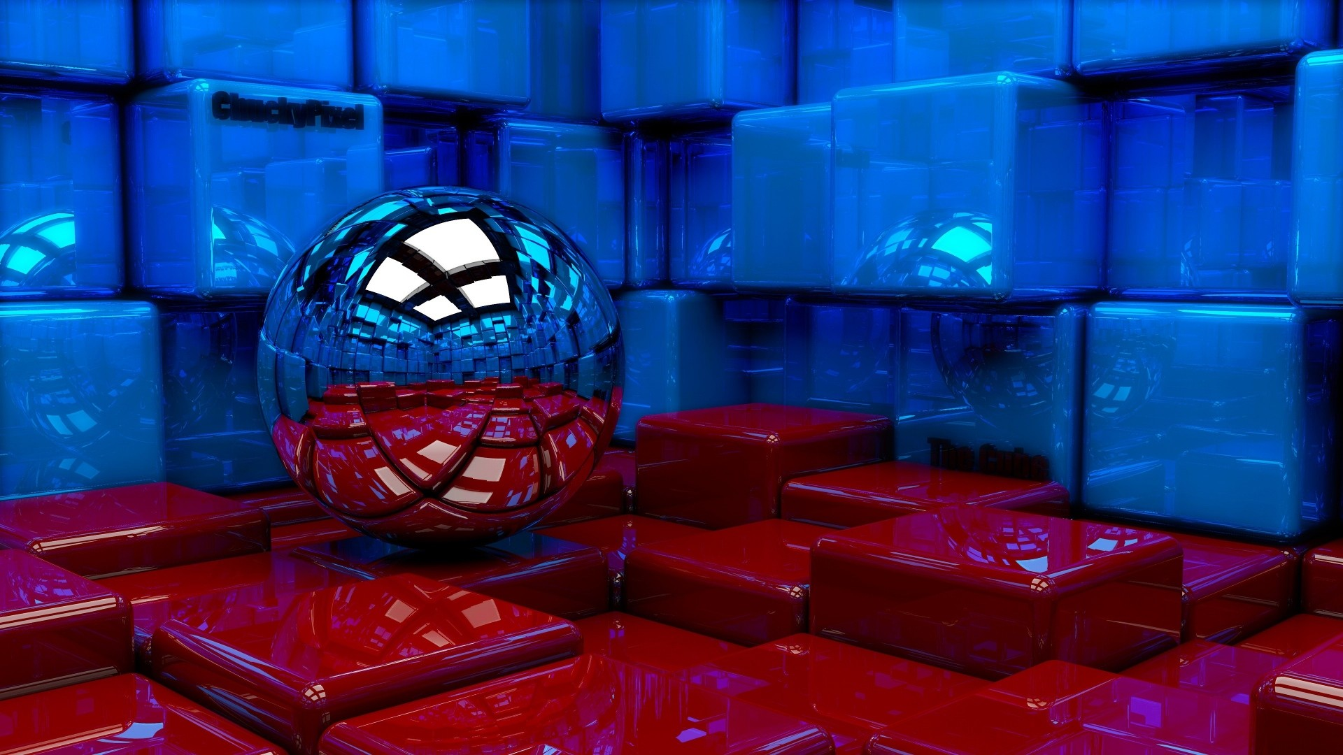 1920x1080 Preview wallpaper ball, cubes, metal, blue, red, reflection