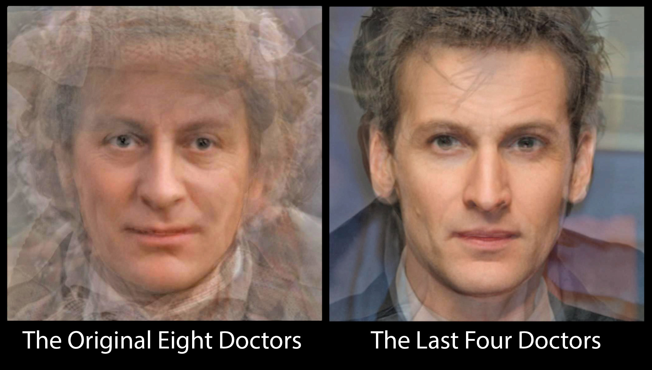 2121x1204 Facial Composite of the Original 8 Doctor Who Actors and the 4 Latest  Doctors