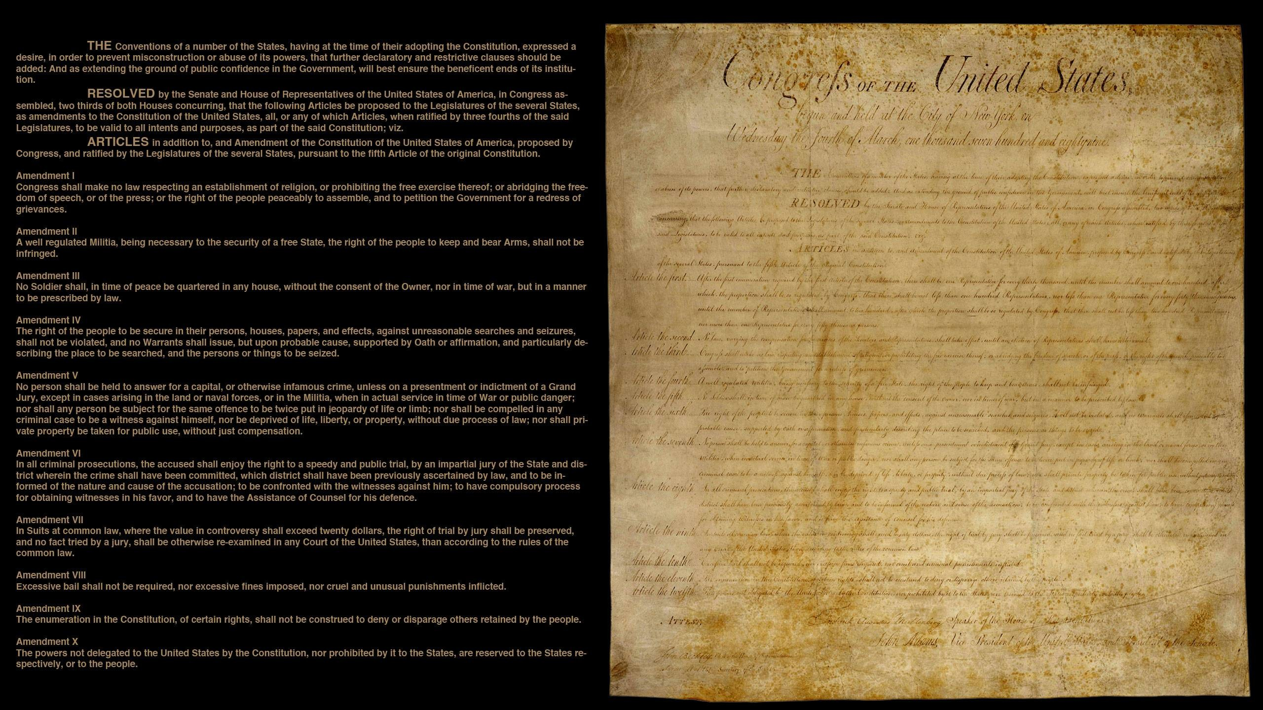 2560x1440 Made a desktop wallpaper of the Bill of Rights, thought I'd share.