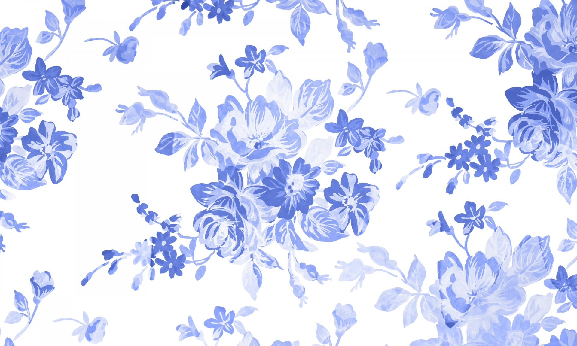 1920x1152 Blue Floral Watercolor Background