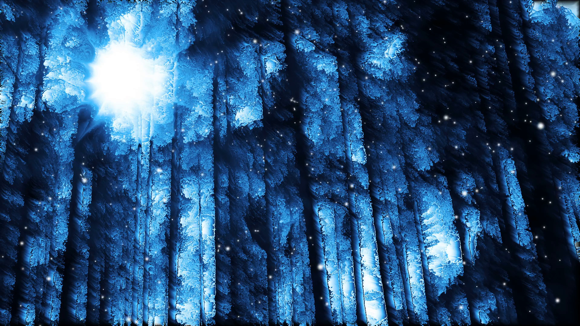 1920x1080 Abstract winter forest background and falling snow loop