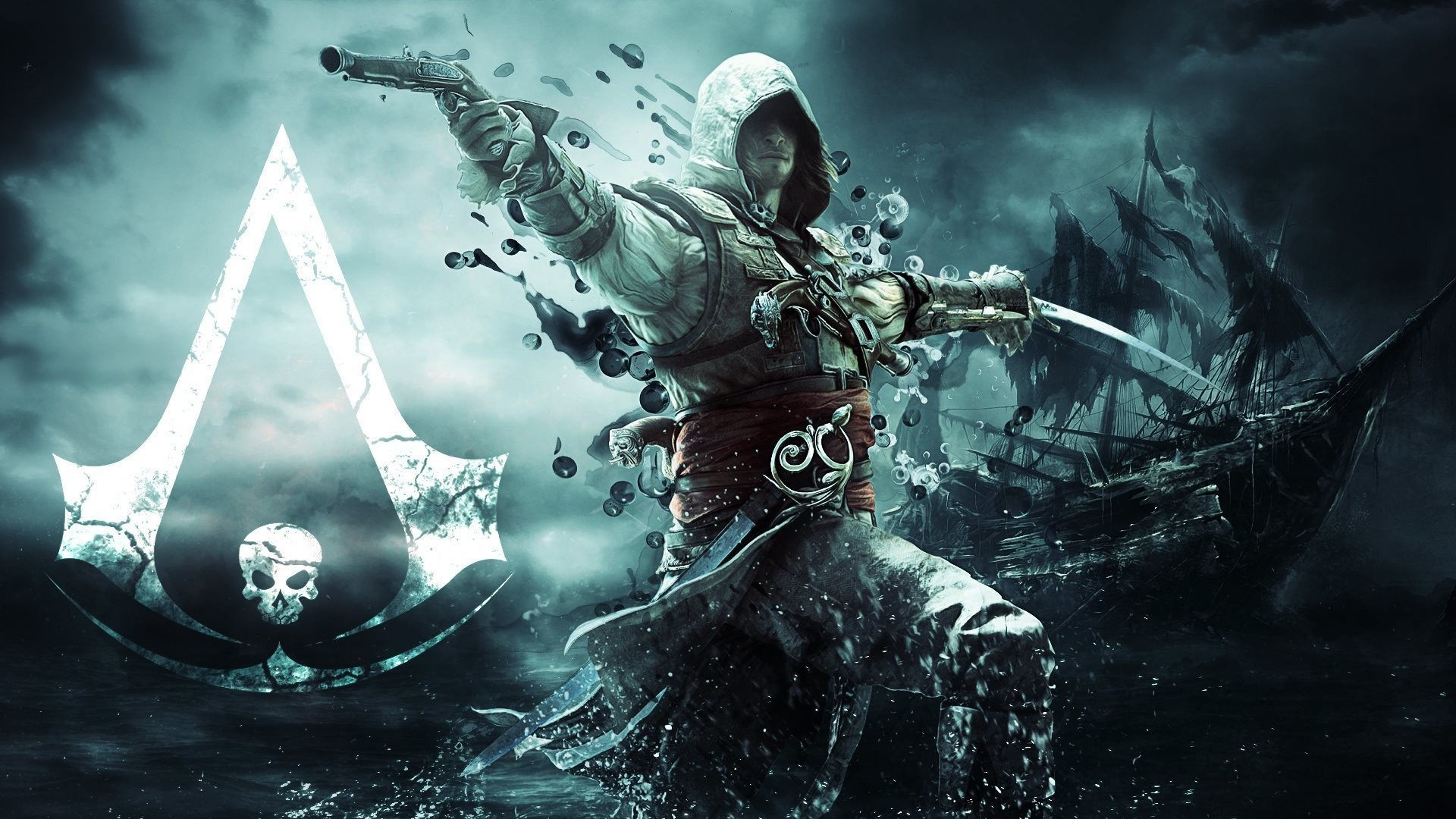 1920x1080  Preview wallpaper assassin, pirate, edward kenuey, gun, sword,  flag, ship