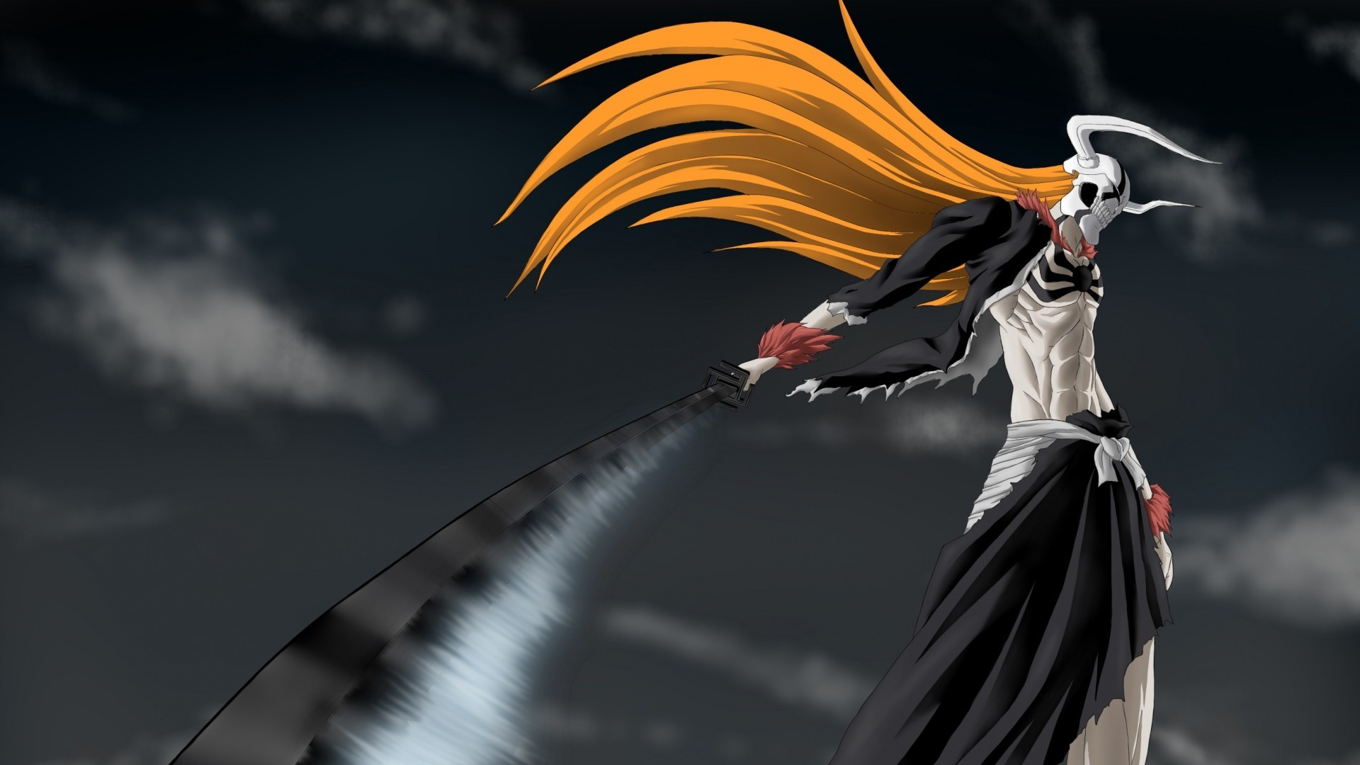 1920x1080  Preview wallpaper bleach, ichigo, sword, hollow, wave, weapons  . Download. Anime 1366X768 694685