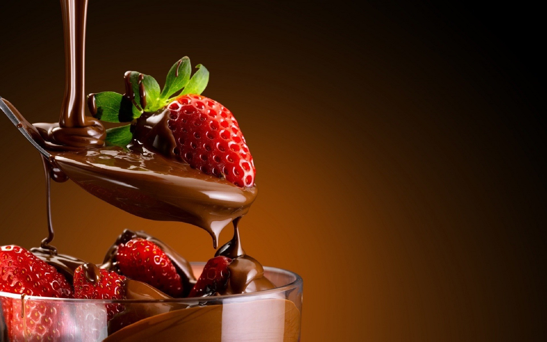 1920x1200 Good morning strawberry chocolate sweet wallpaper