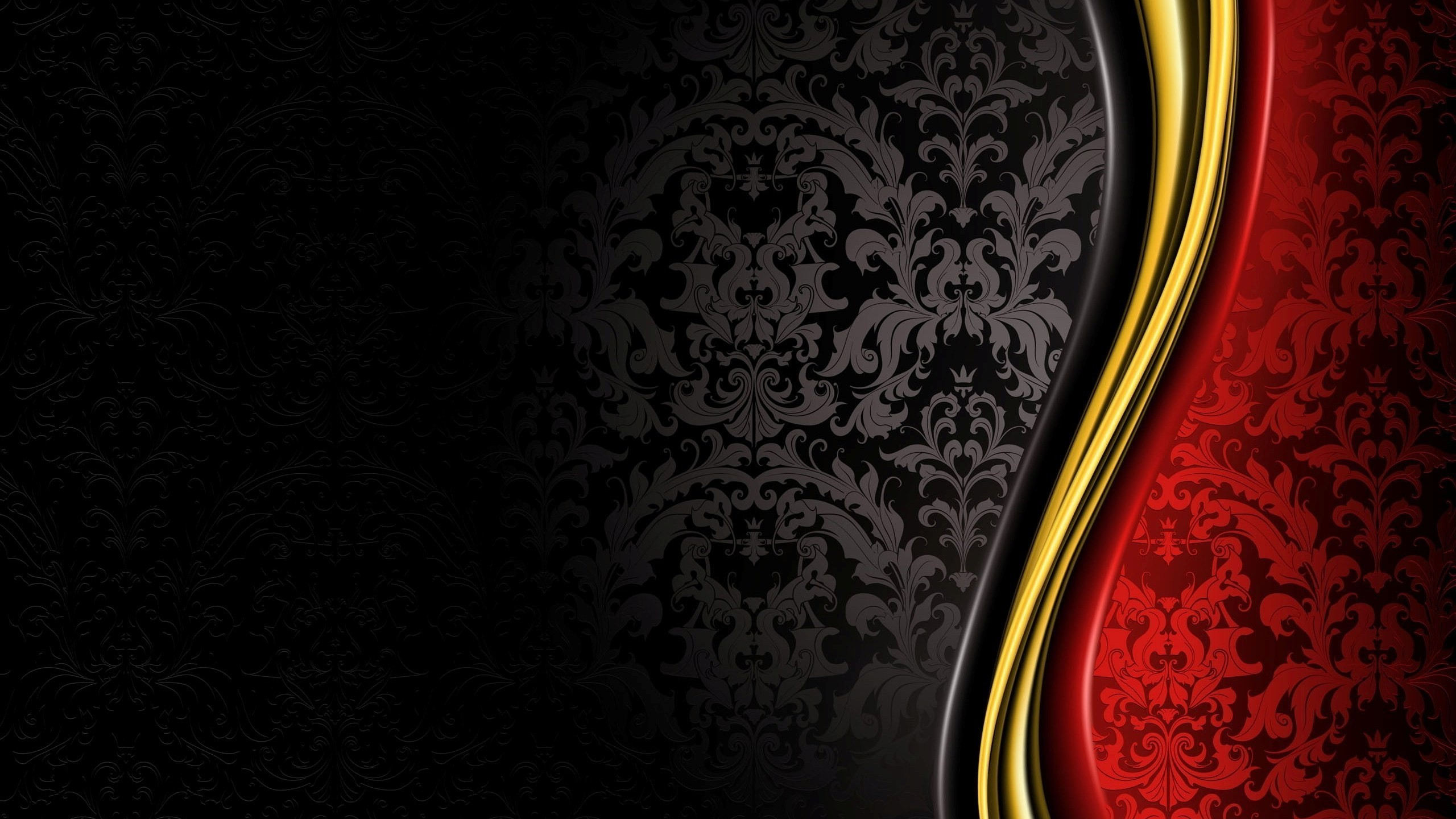 2560x1440  Black Red Gold Background