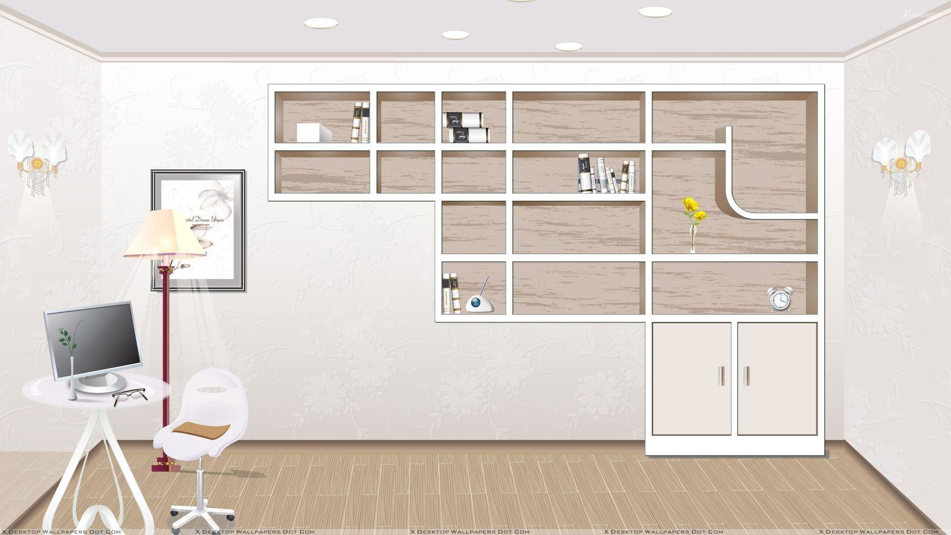 1920x1080 Dark bookcase, office desktop shelves wallpaper clever office .