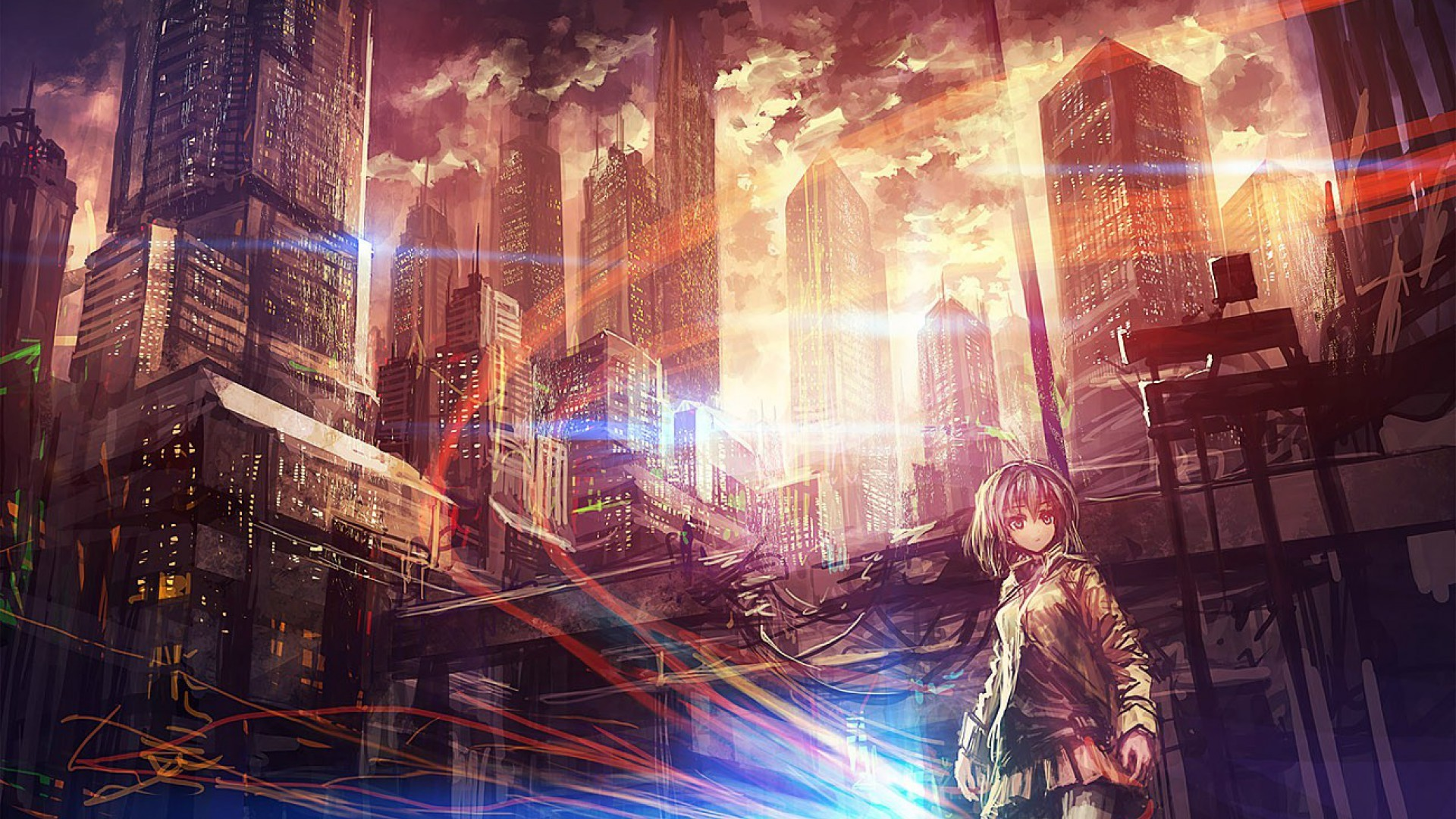 1920x1080 Anime City Scenery Wallpapers Background with High Definition Wallpaper   px 594.82 KB