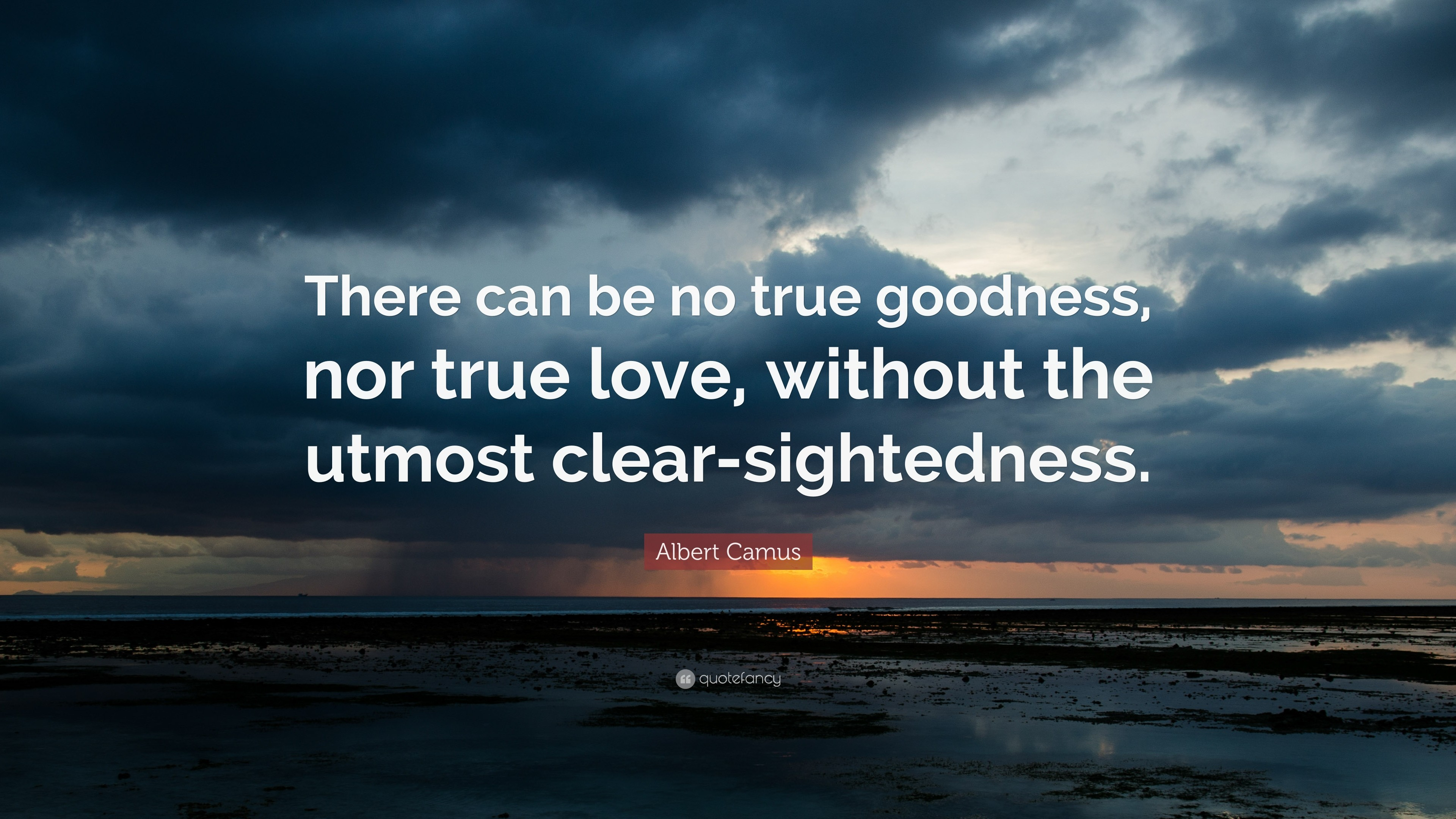 "3840x2160 Albert Camus Quote: ""There can be no true goodness, nor true love,"