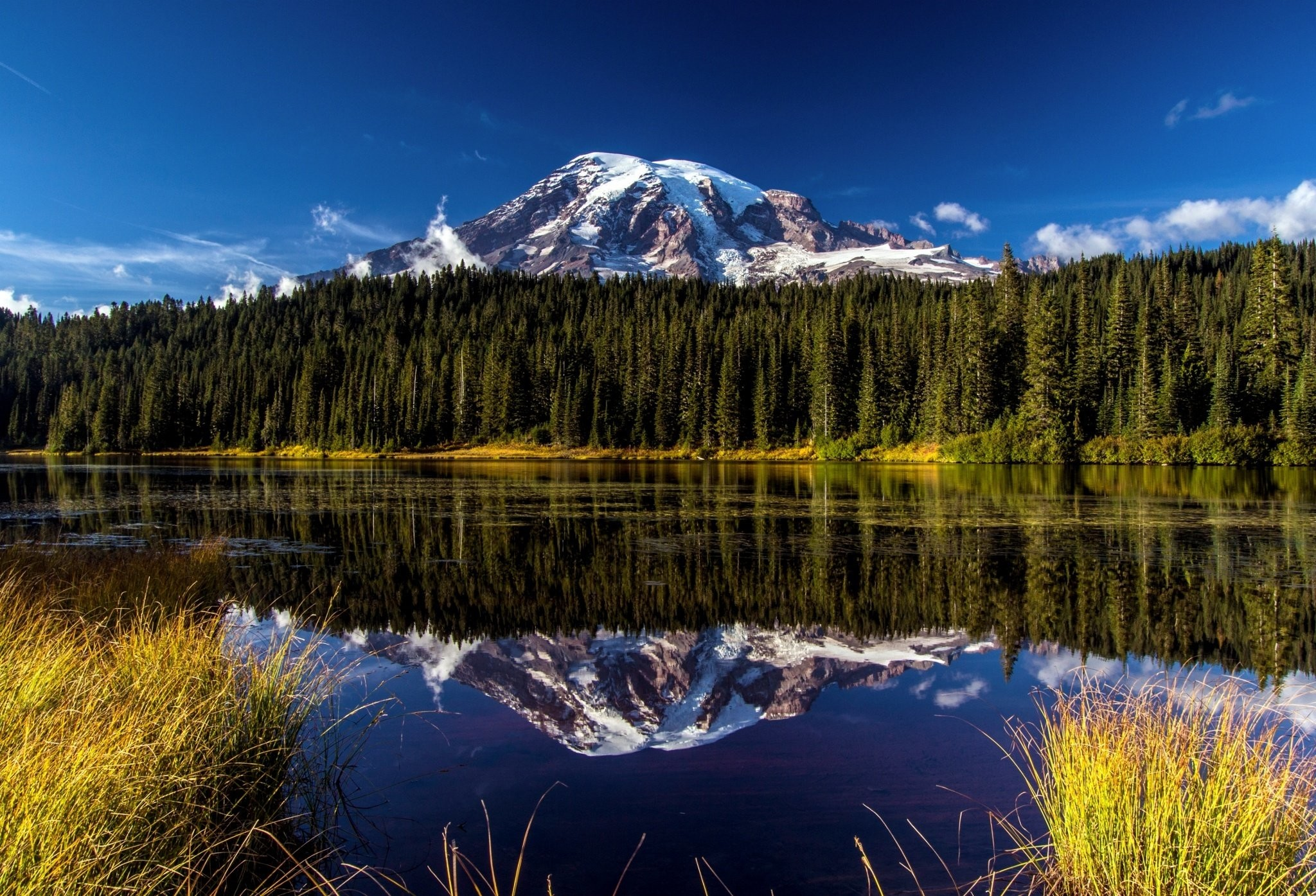 2048x1395 Forest landscape mountain Mount Rainier National Park volcano reflection  lake wallpaper |  | 485661 | WallpaperUP