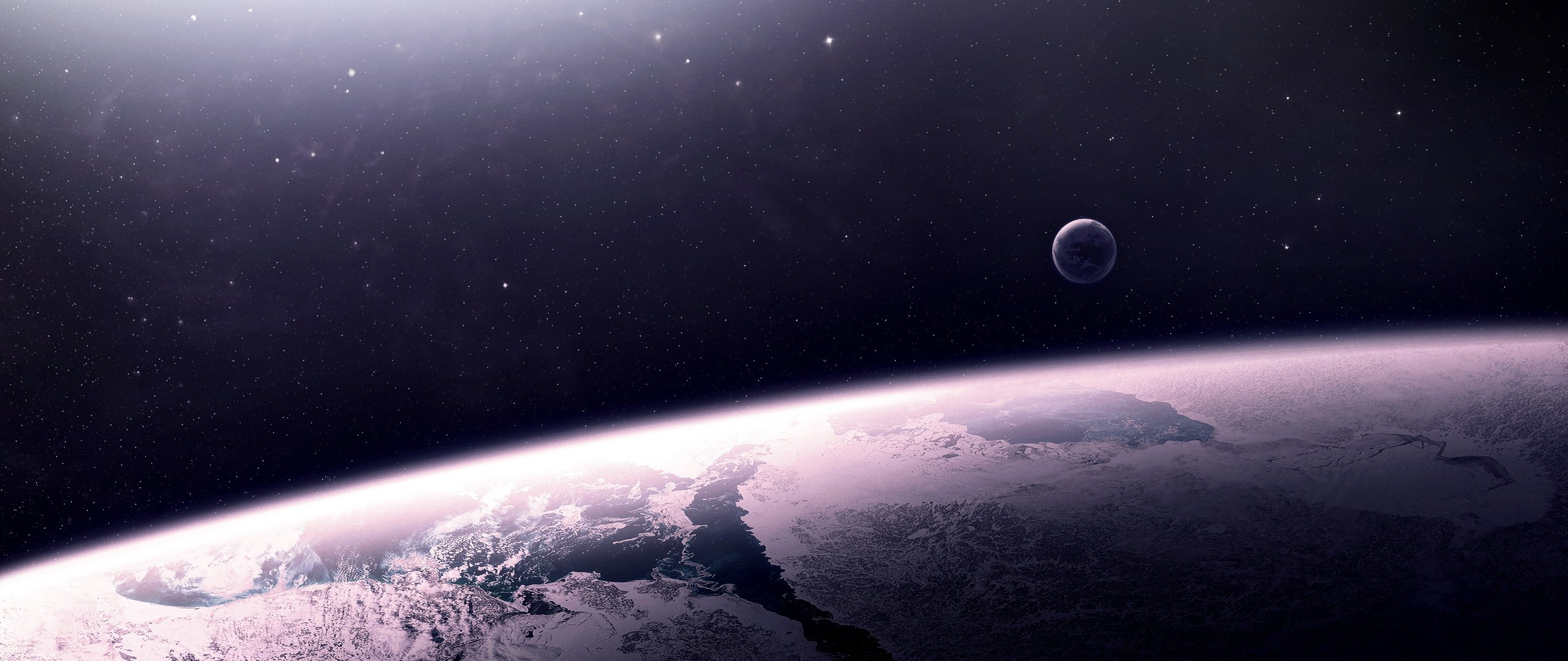 2560x1080  Wallpaper star, relief, planet, space