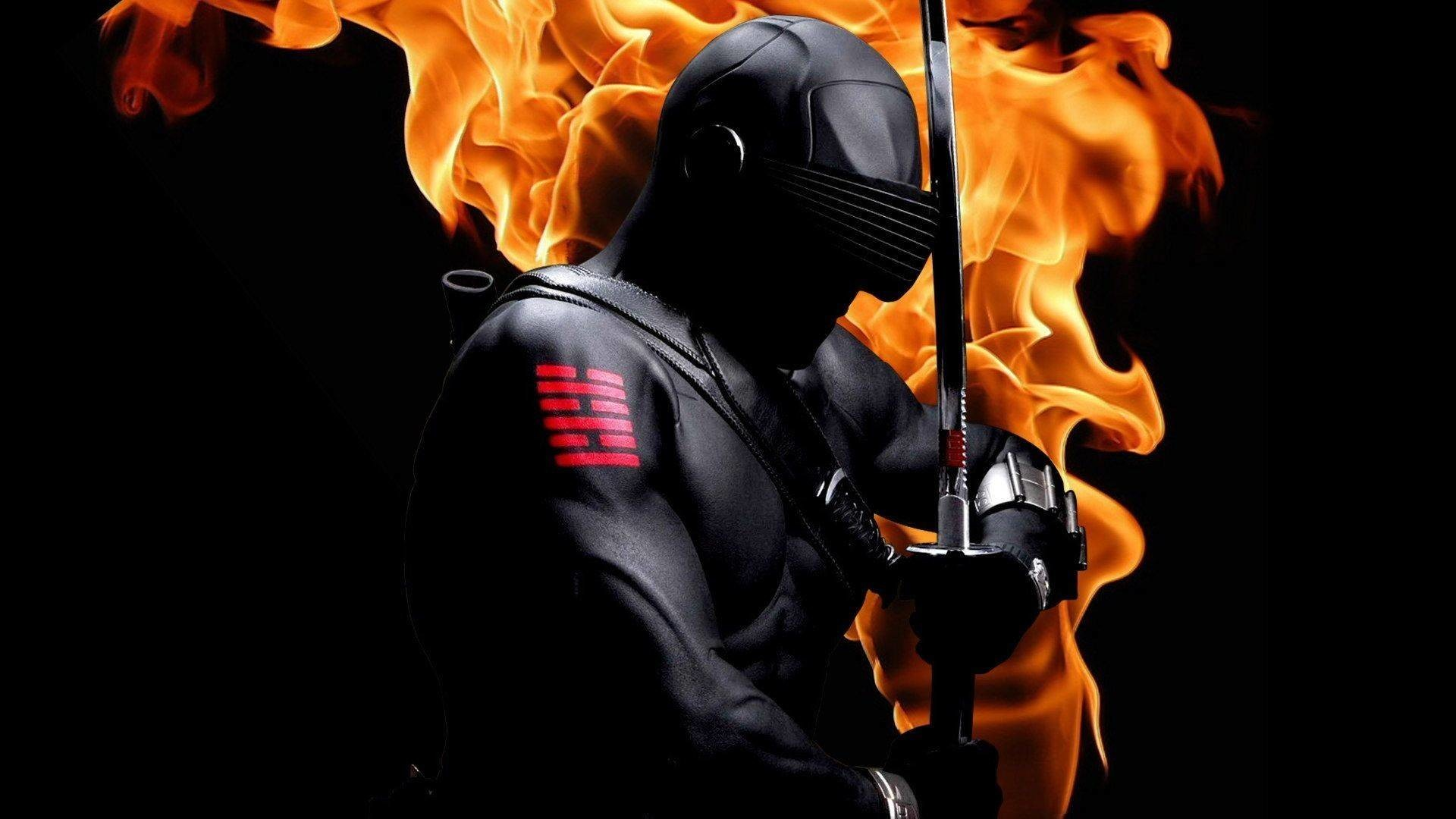 1920x1080 Snake Eyes (G.I. Joe) with sword on fire - Wallpapers Picture