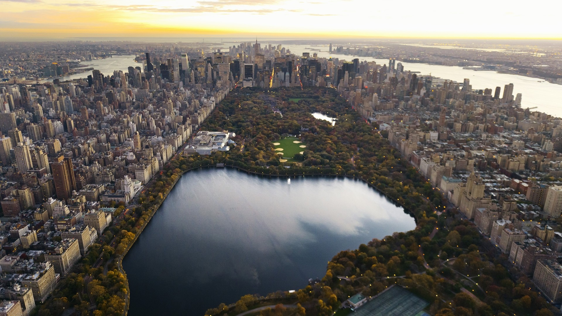 1920x1080 Preview wallpaper central park, panorama, night, new york, lake,  skyscrapers,