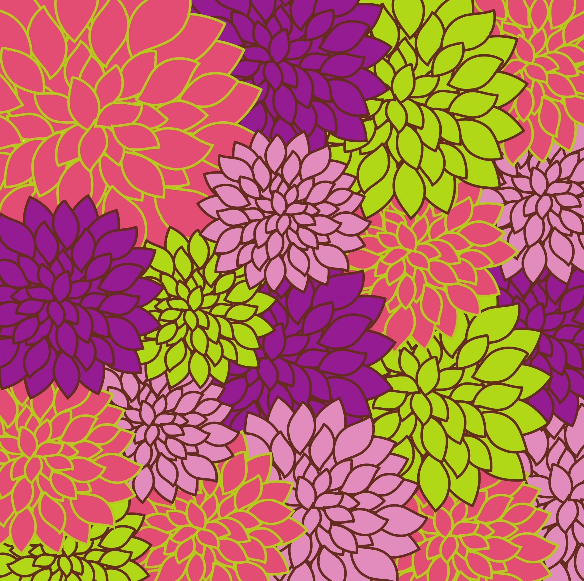 1920x1911 Floral Background Bright Colorful