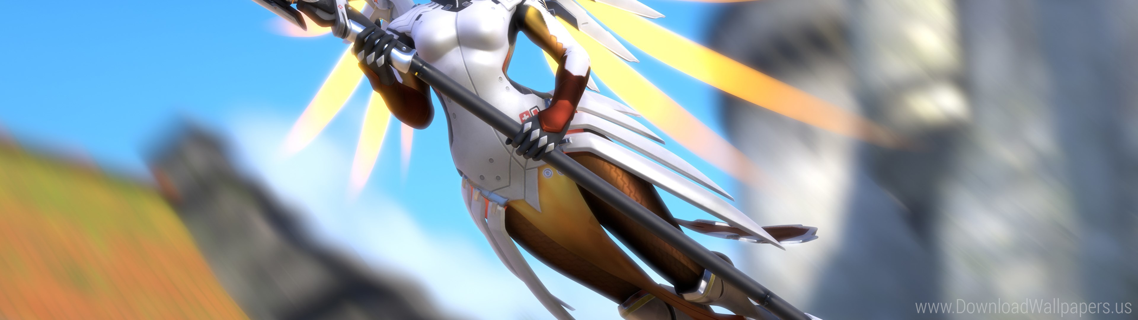3840x1080 Download Dual Screen Wide  - Artwork, Mercy, Overwatch Wallpaper