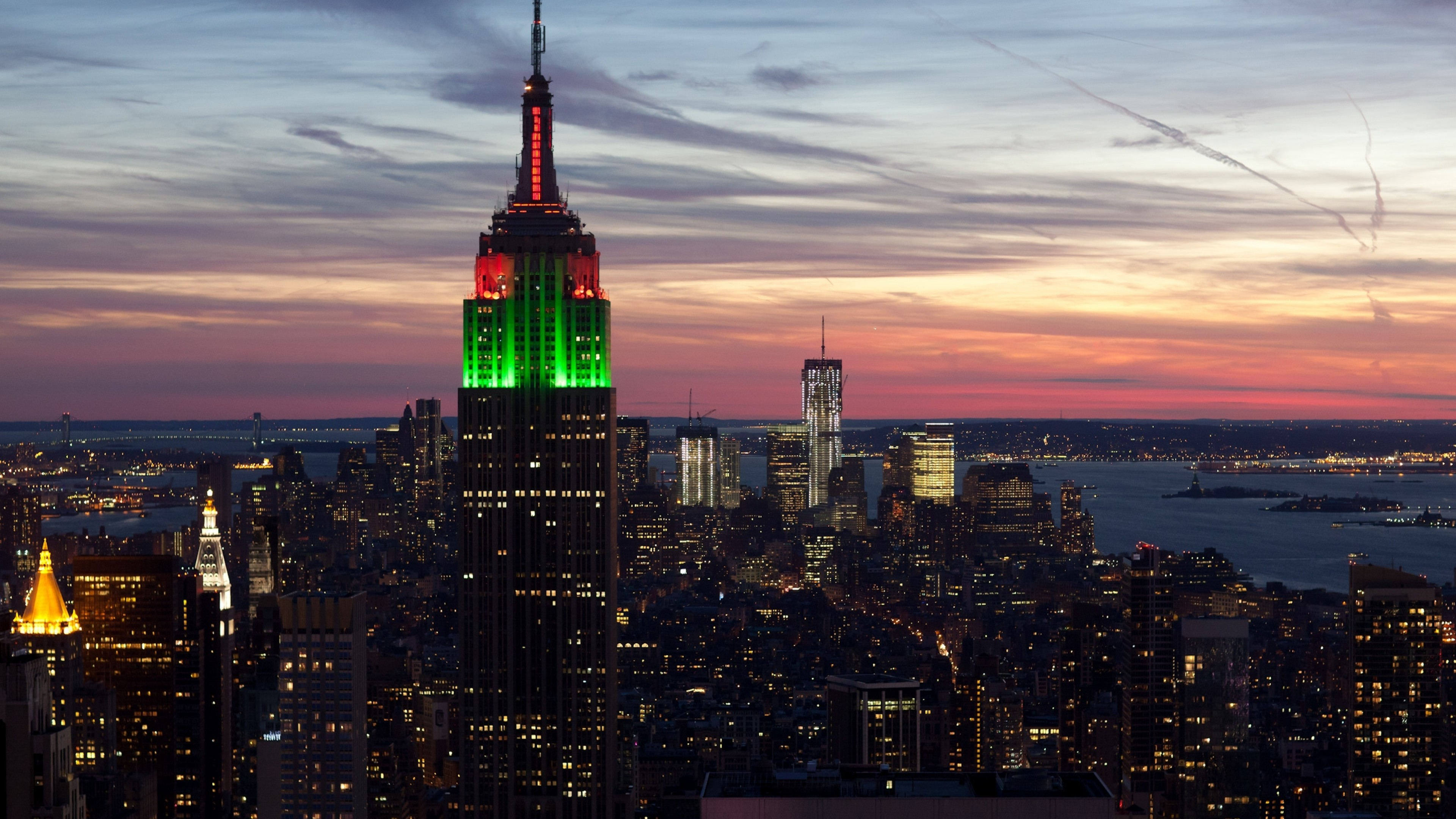 3840x2160  Wallpaper city, new york, empire state building, sunset