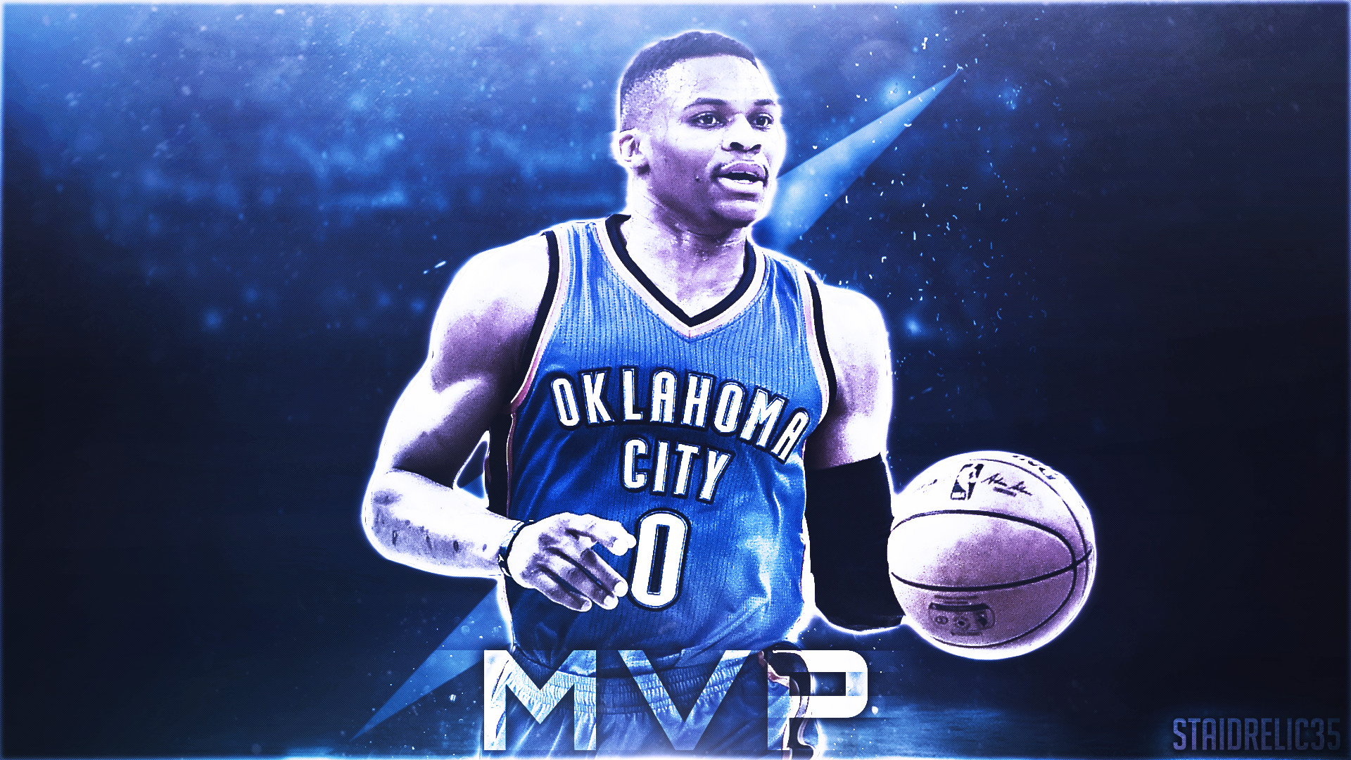 "1920x1080 Simple Russell Westbrook ""MVP"" design I created. What do you guys think?"