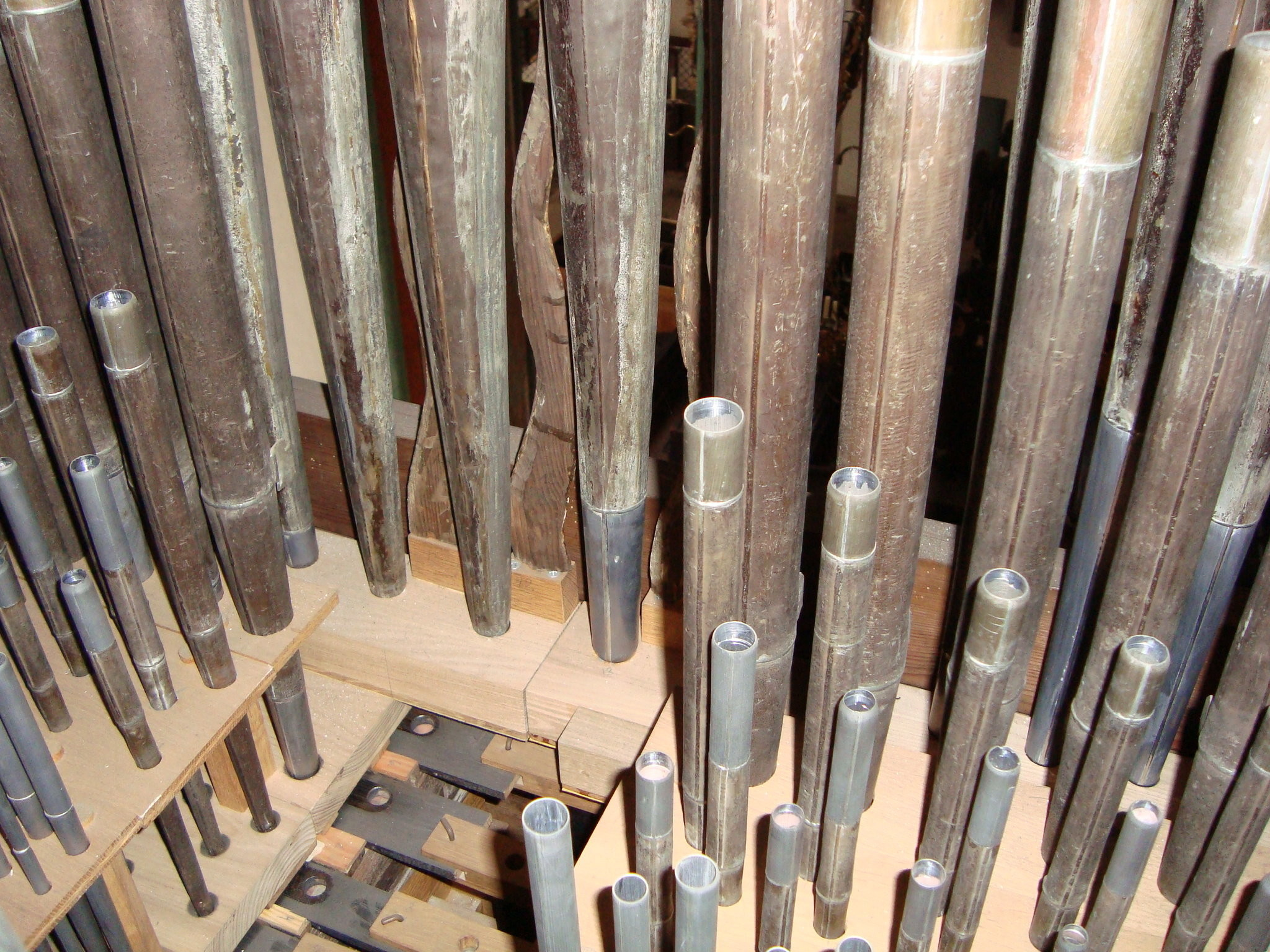 2048x1536 View full size An interior view of the Stellwagen organ shows the variety  of the instrument's pipes. The base of each pipe rests atop a wood wind  chest, ...