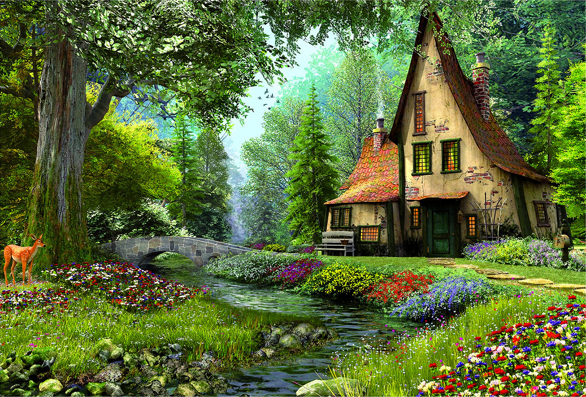 1920x1301 Artistic - Painting Artistic House Fairy Tale Magical Flower Tree Spring  Deer Bridge River Wallpaper