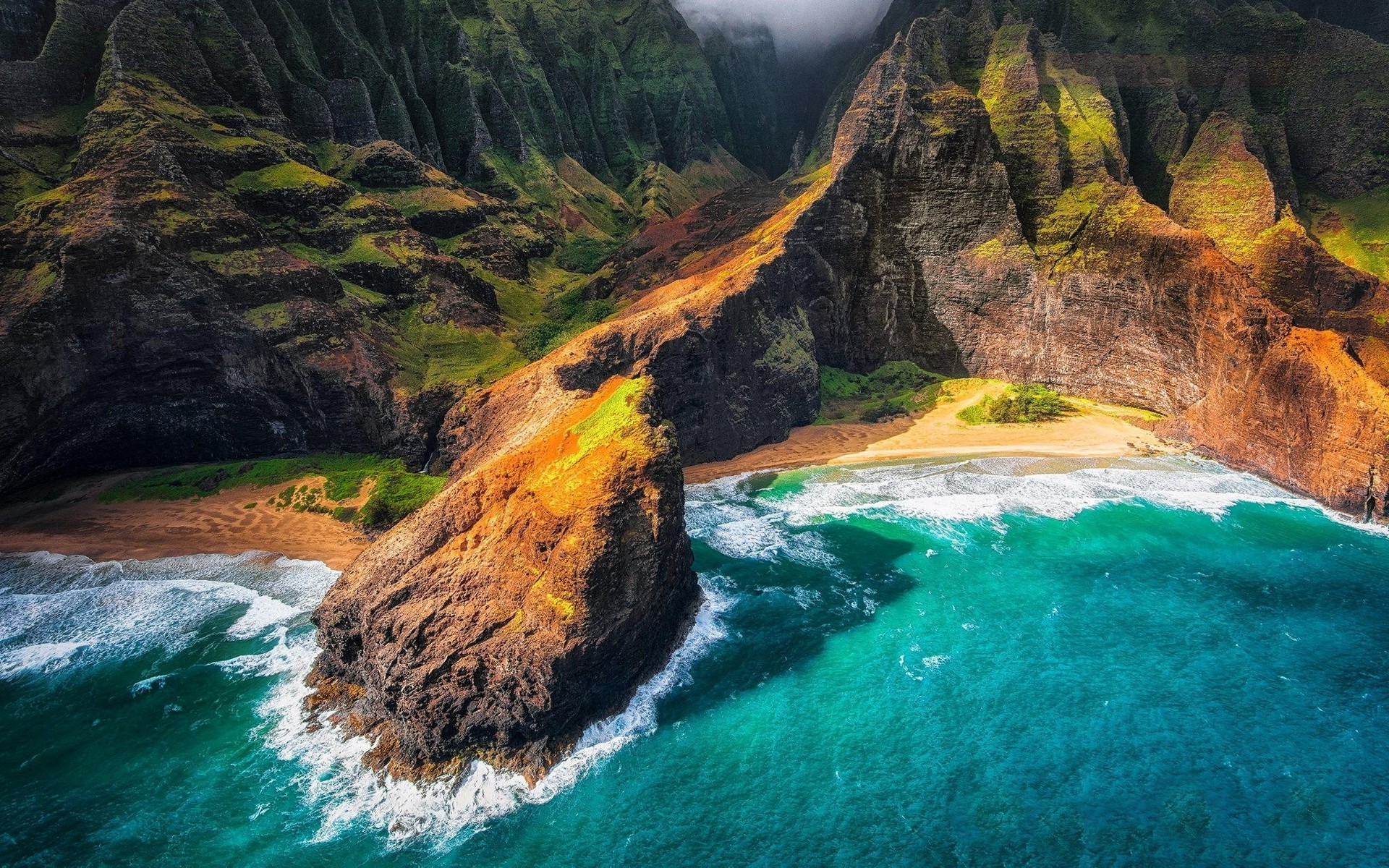 1920x1200 Landscape Nature Kauai Hawaii Beach Cliff Sea Mountain