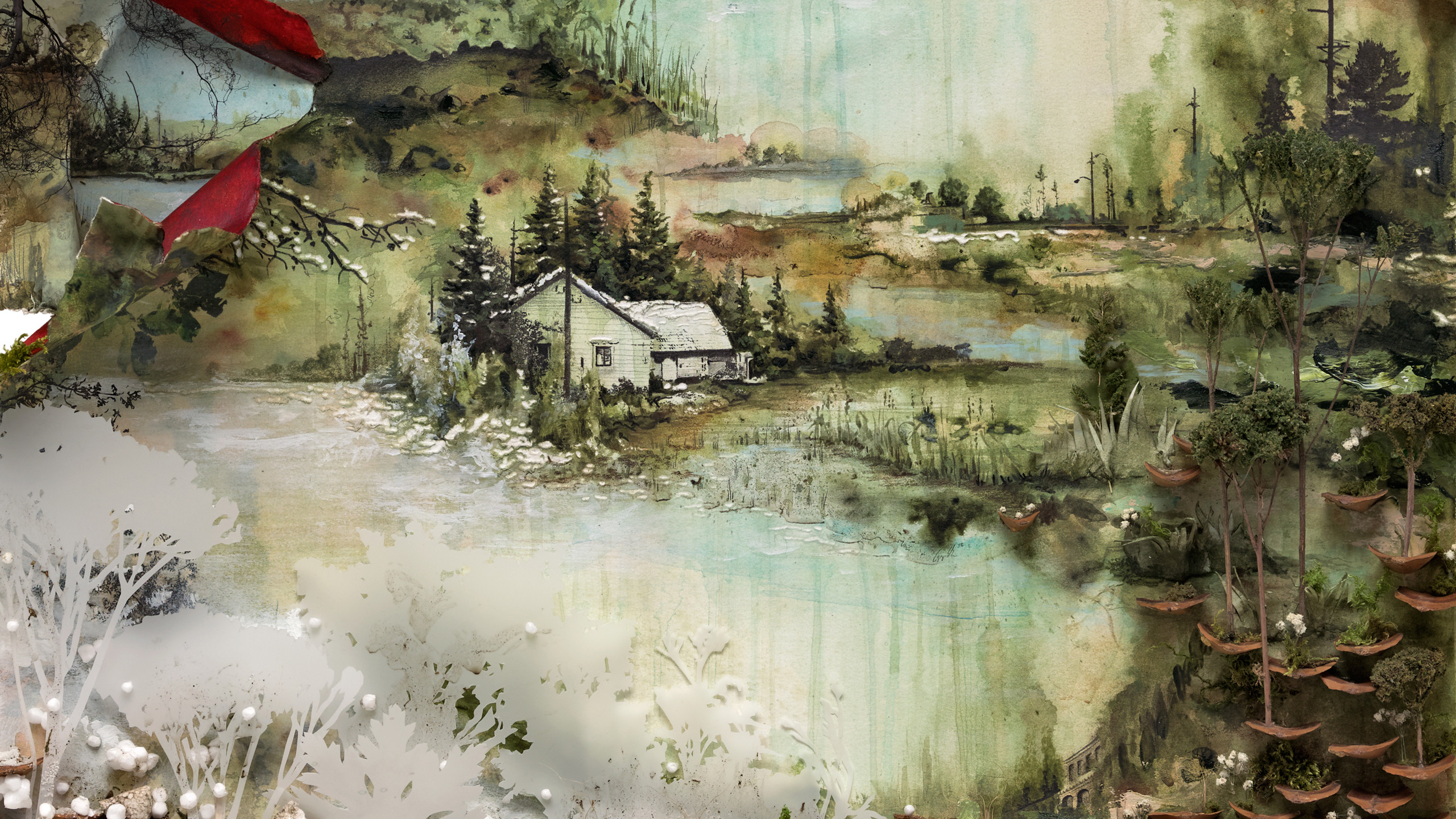 2560x1440 Bon Iver album cover by Gregory Euclide