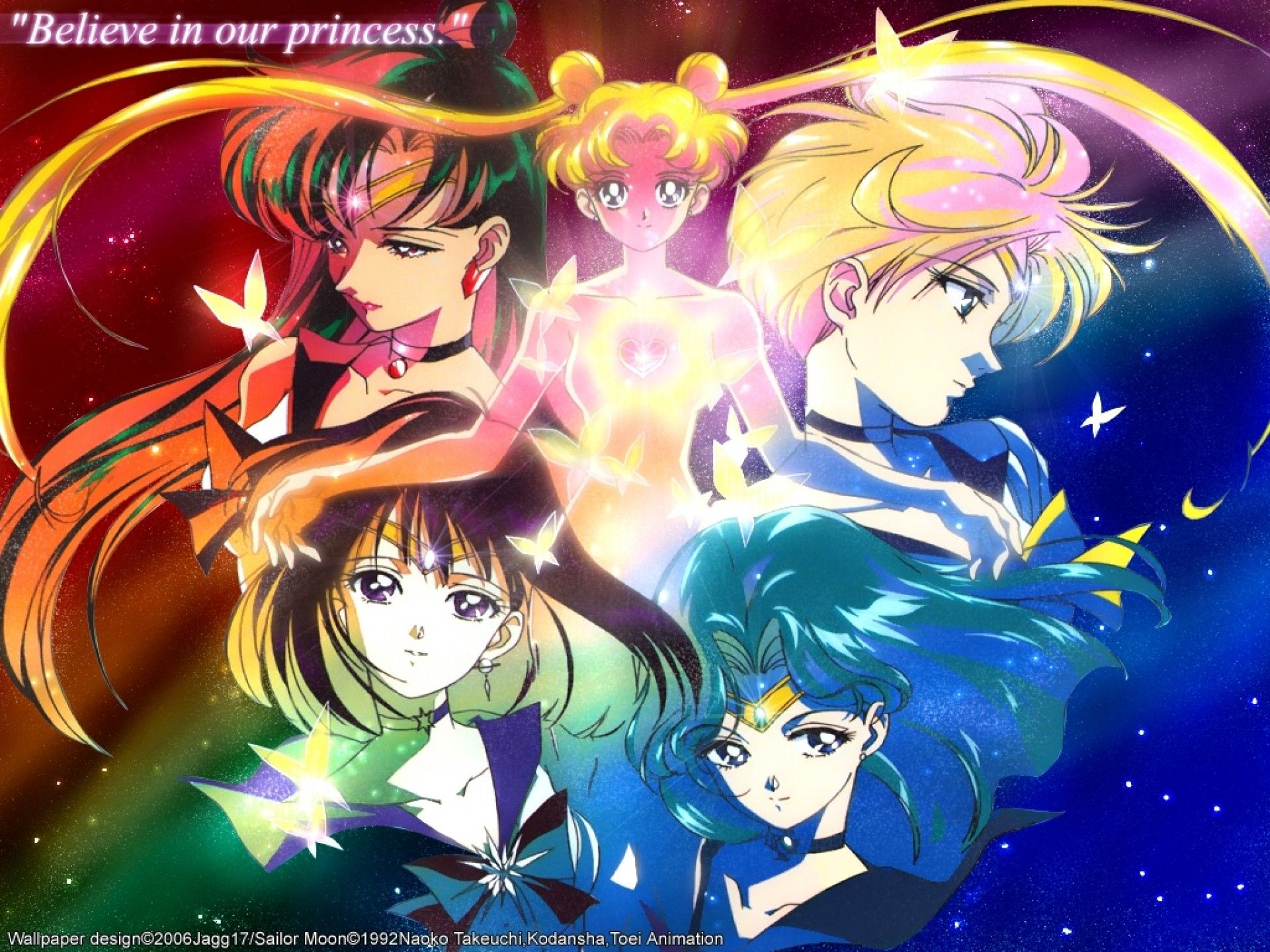 1920x1440 Sailor Moon,Uranus,Neptune,Pluto and Saturn