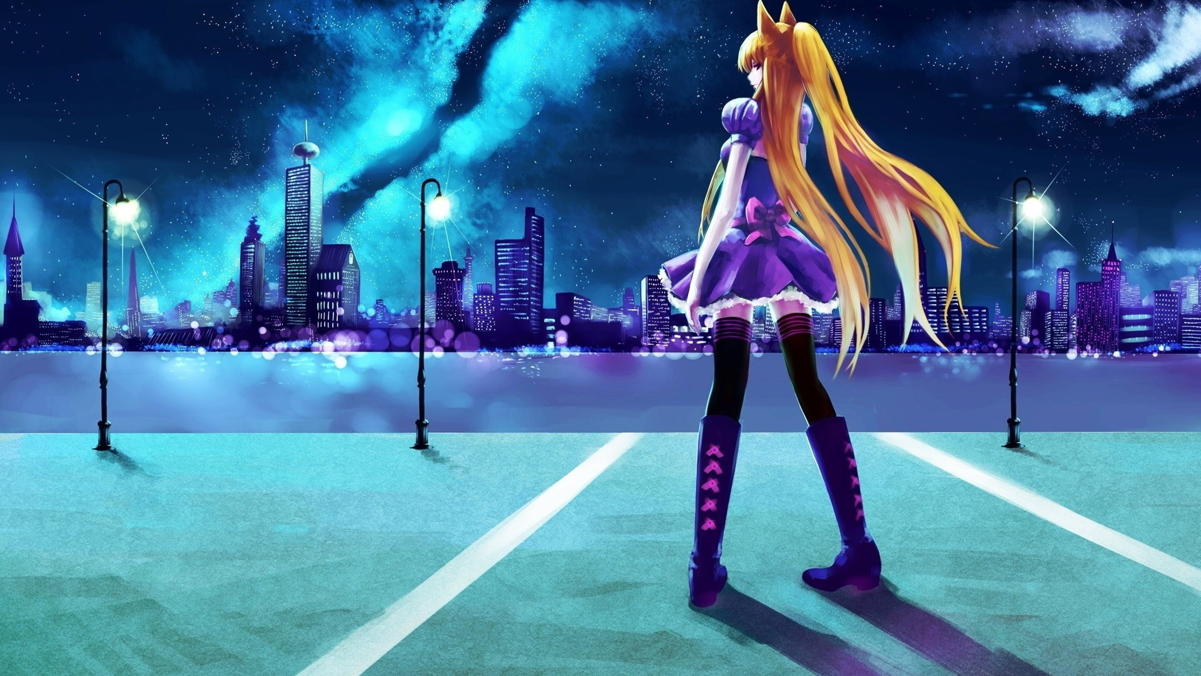 3840x2160  Wallpaper anime, girl, young, parking, city, skyscraper, night