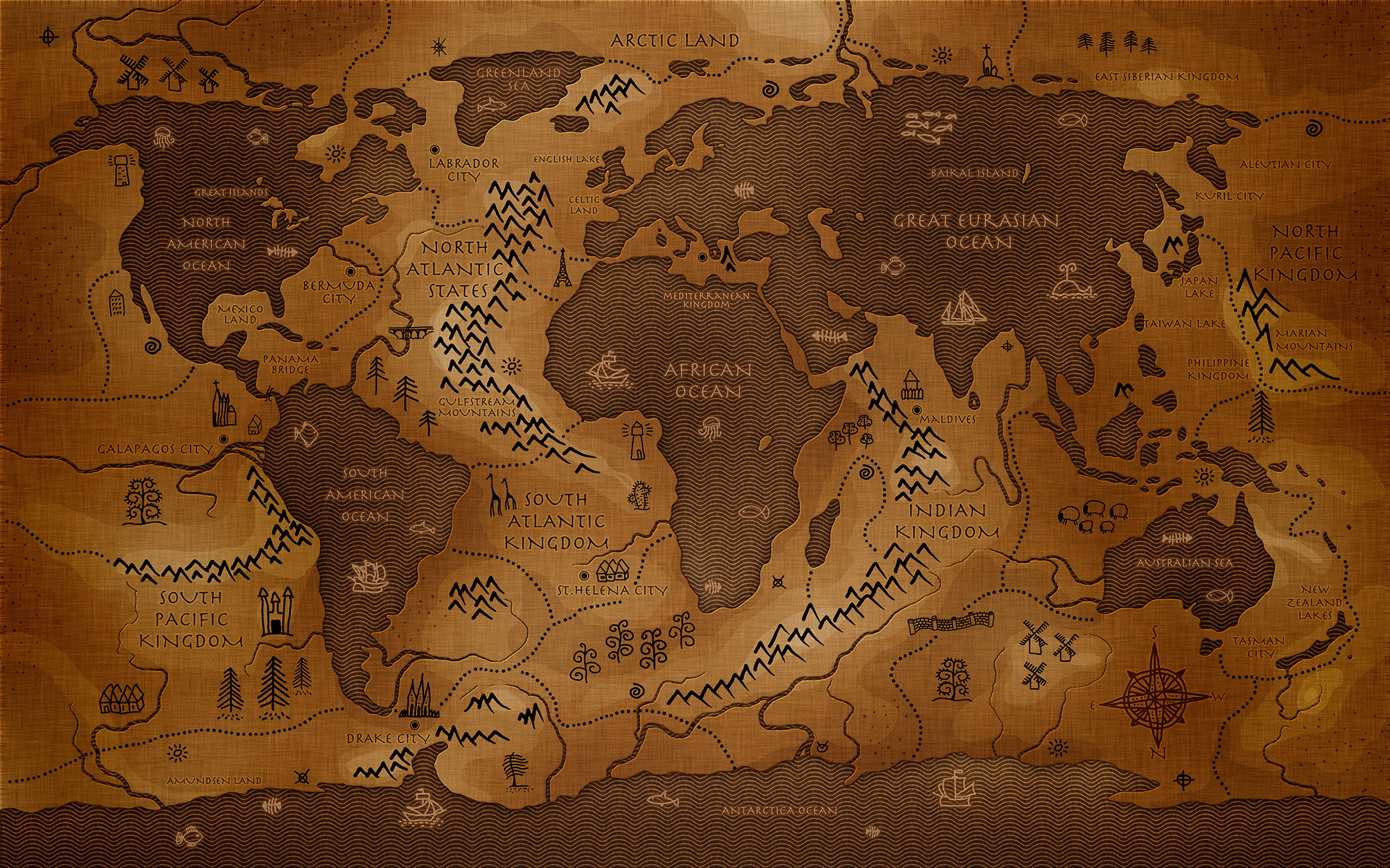 1920x1200 Antique World Map wallpaper